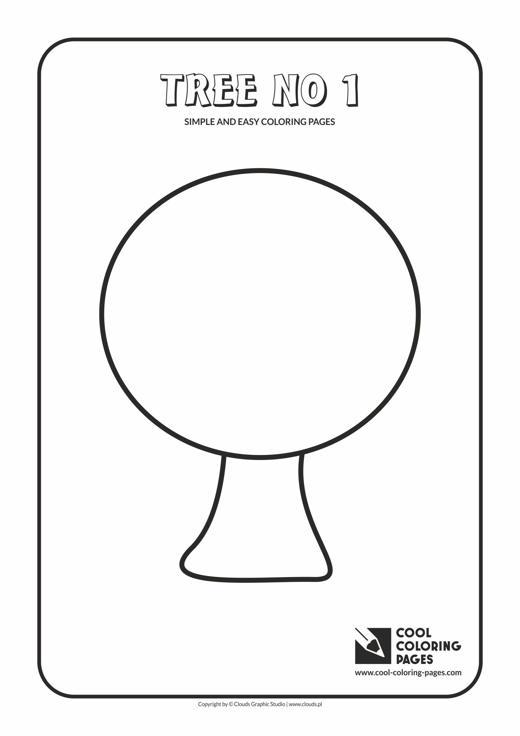 Simple and easy coloring pages for toddlers - Tree no 1