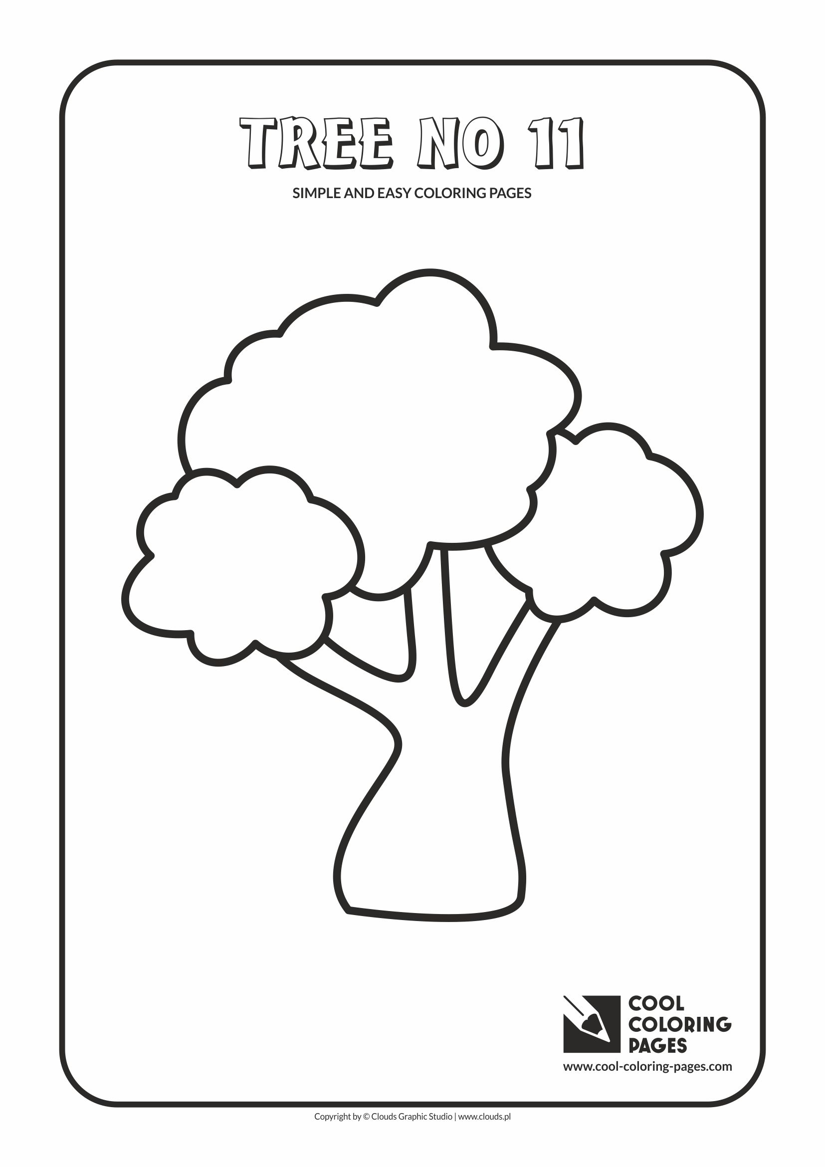 Simple and easy coloring pages for toddlers - Tree no 11