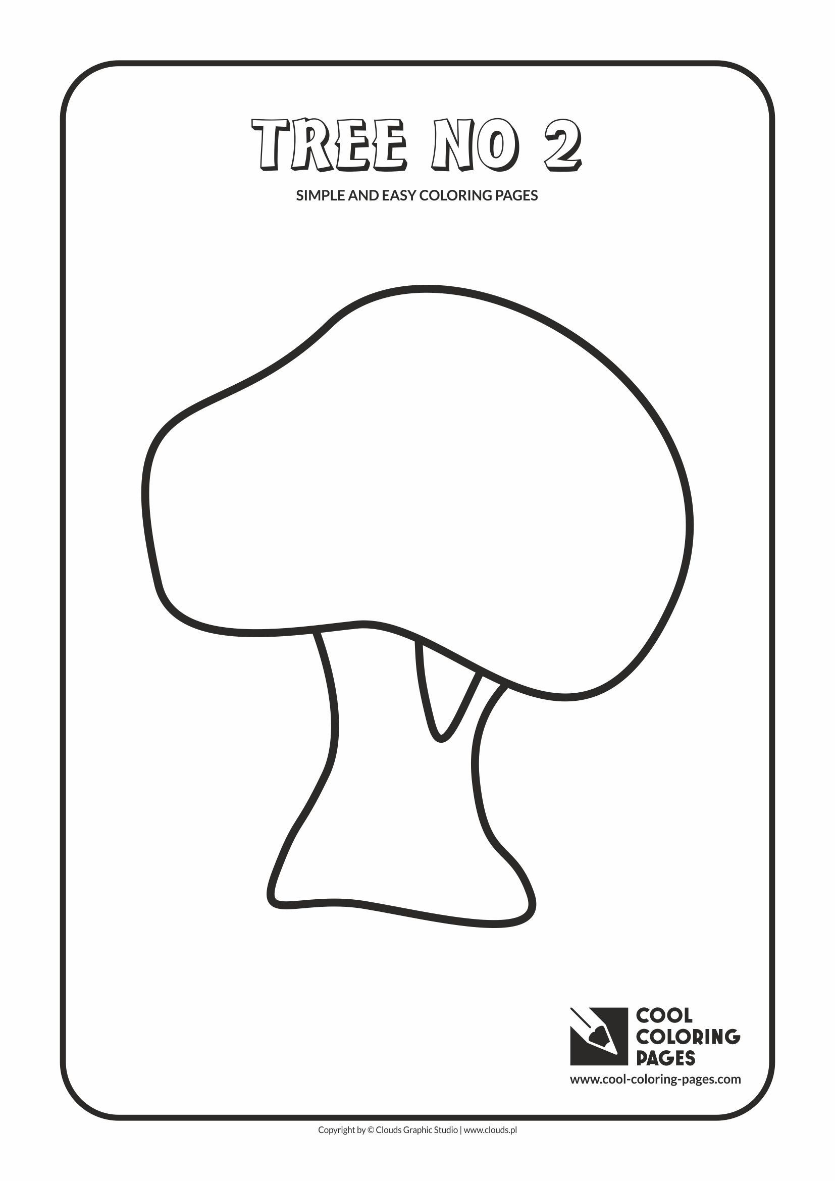 Simple and easy coloring pages for toddlers - Tree no 2