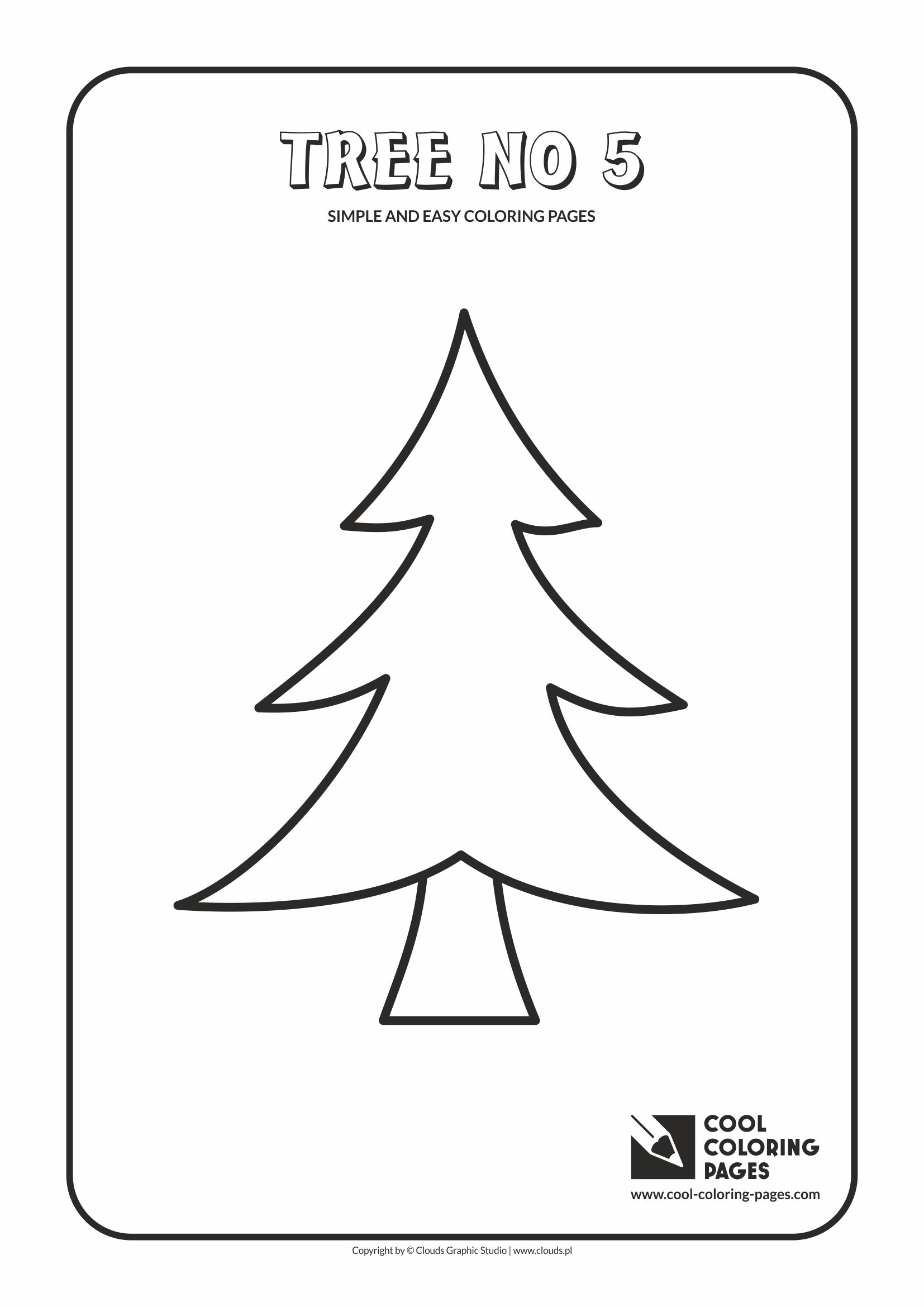 Simple and easy coloring pages for toddlers - Tree no 5
