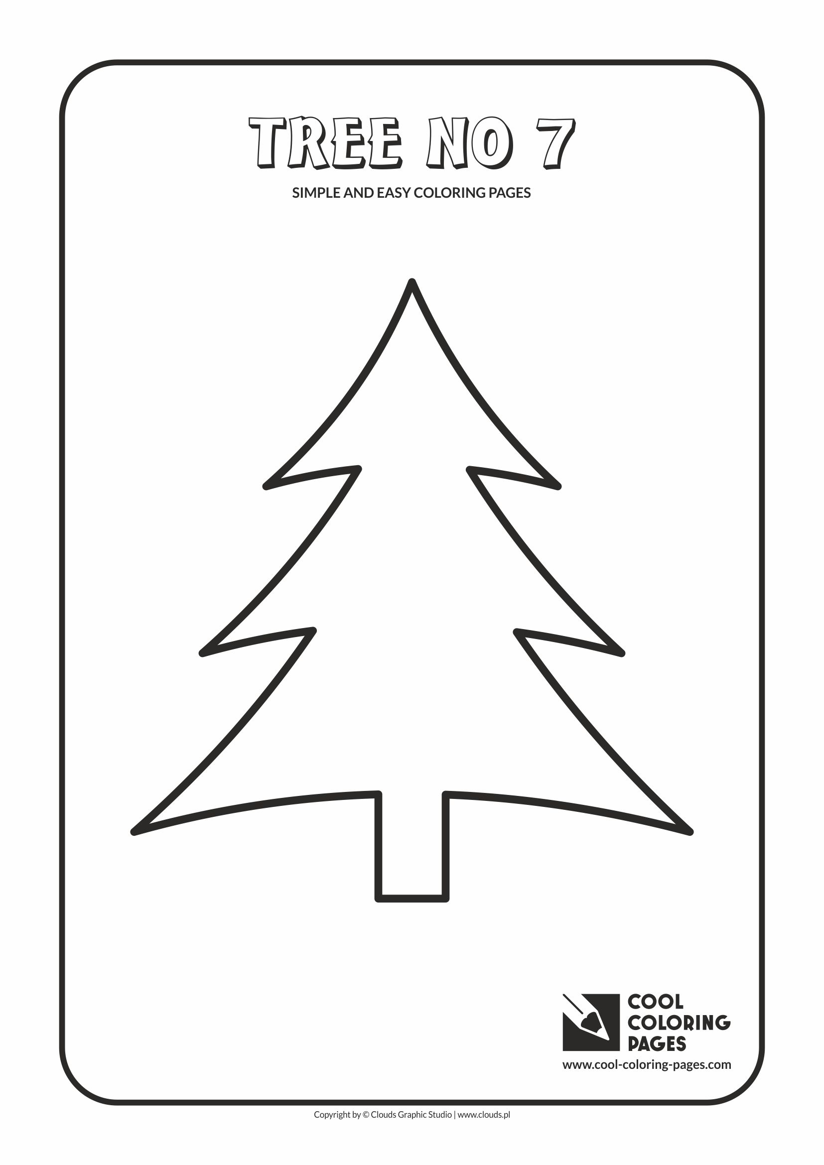 Simple and easy coloring pages for toddlers - Tree no 7