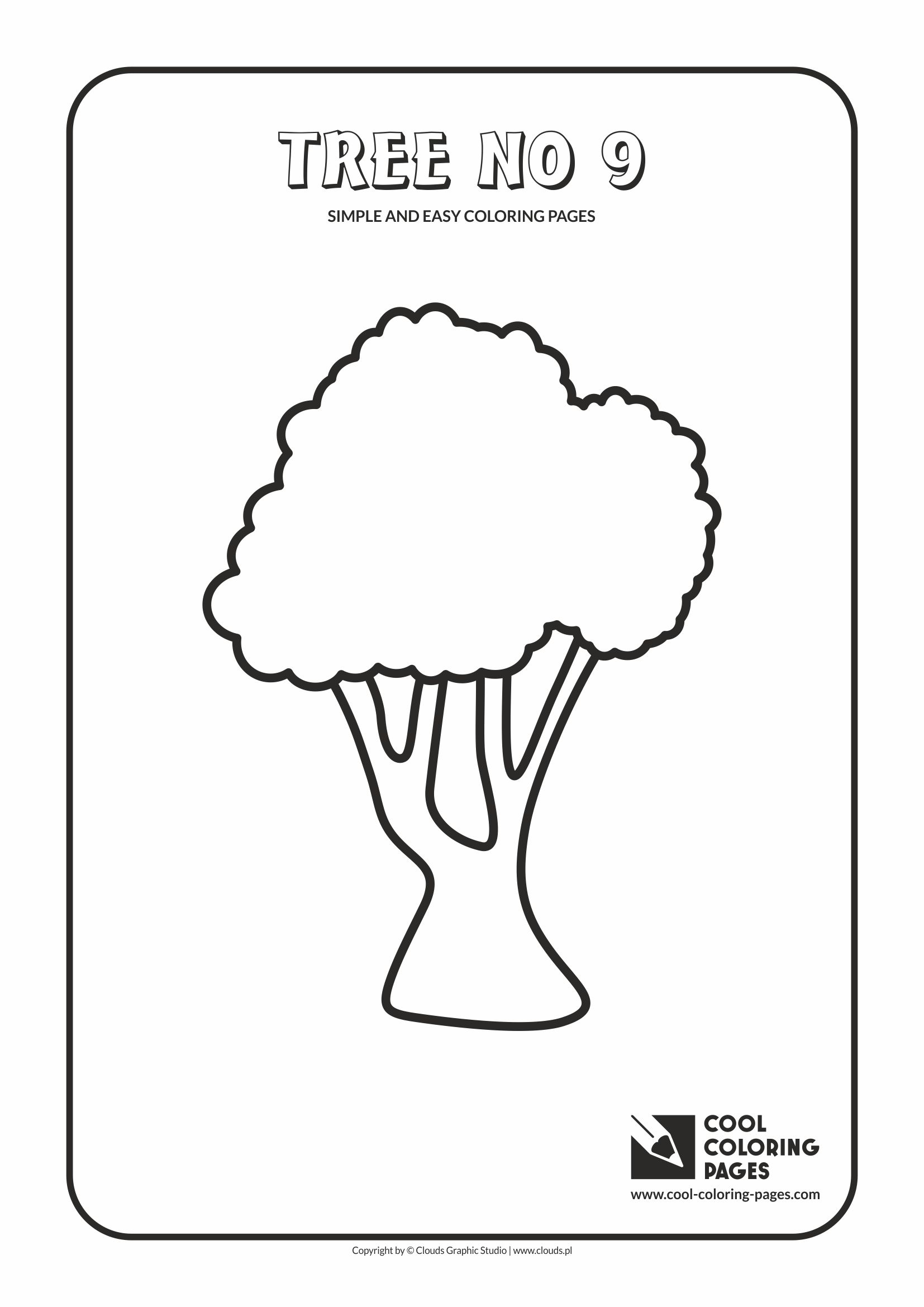 Simple and easy coloring pages for toddlers - Tree no 9