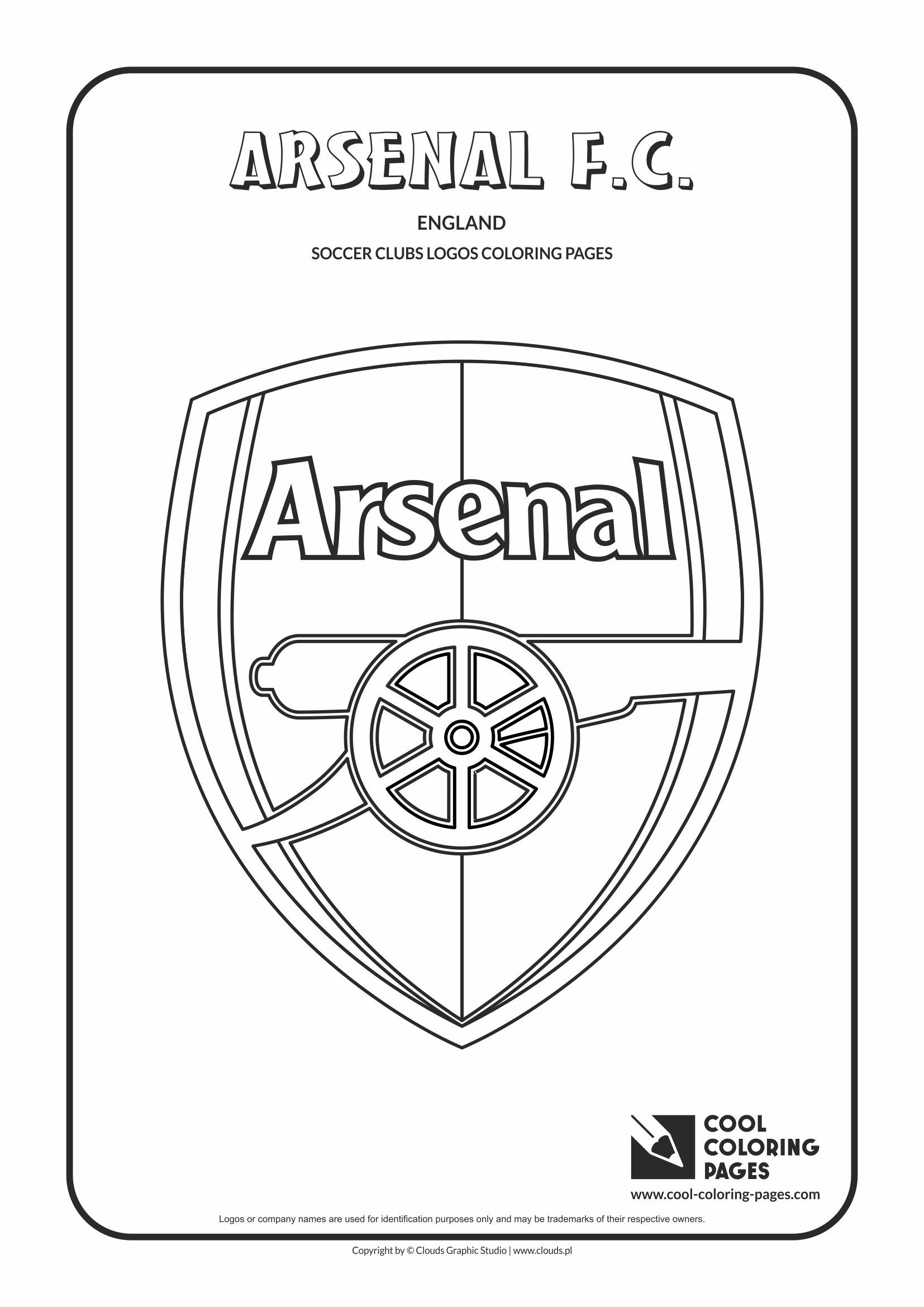 Cool Coloring Pages - Soccer Club Logos / Arsenal F.C. logo / Coloring page with Arsenal F.C. logo