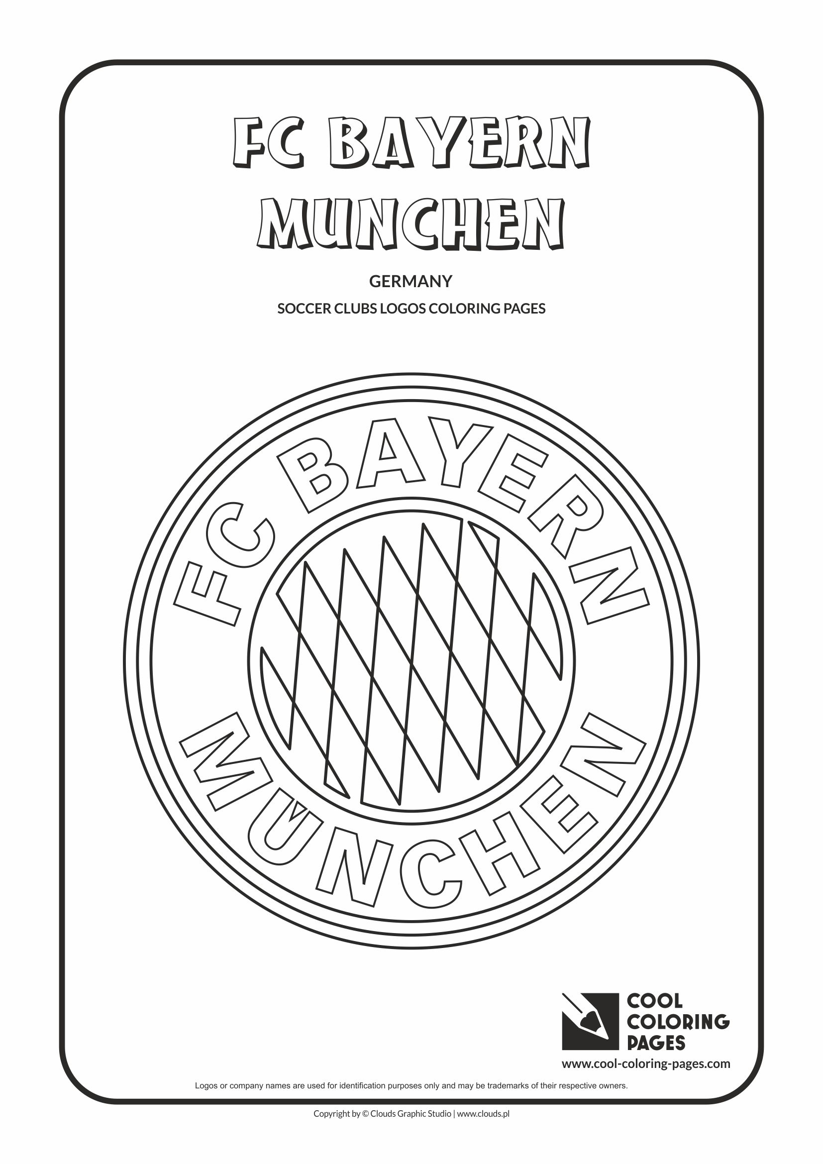 Cool Coloring Pages - Soccer Club Logos / FC Bayern Munchen logo / Coloring page with FC Bayern Munchen logo