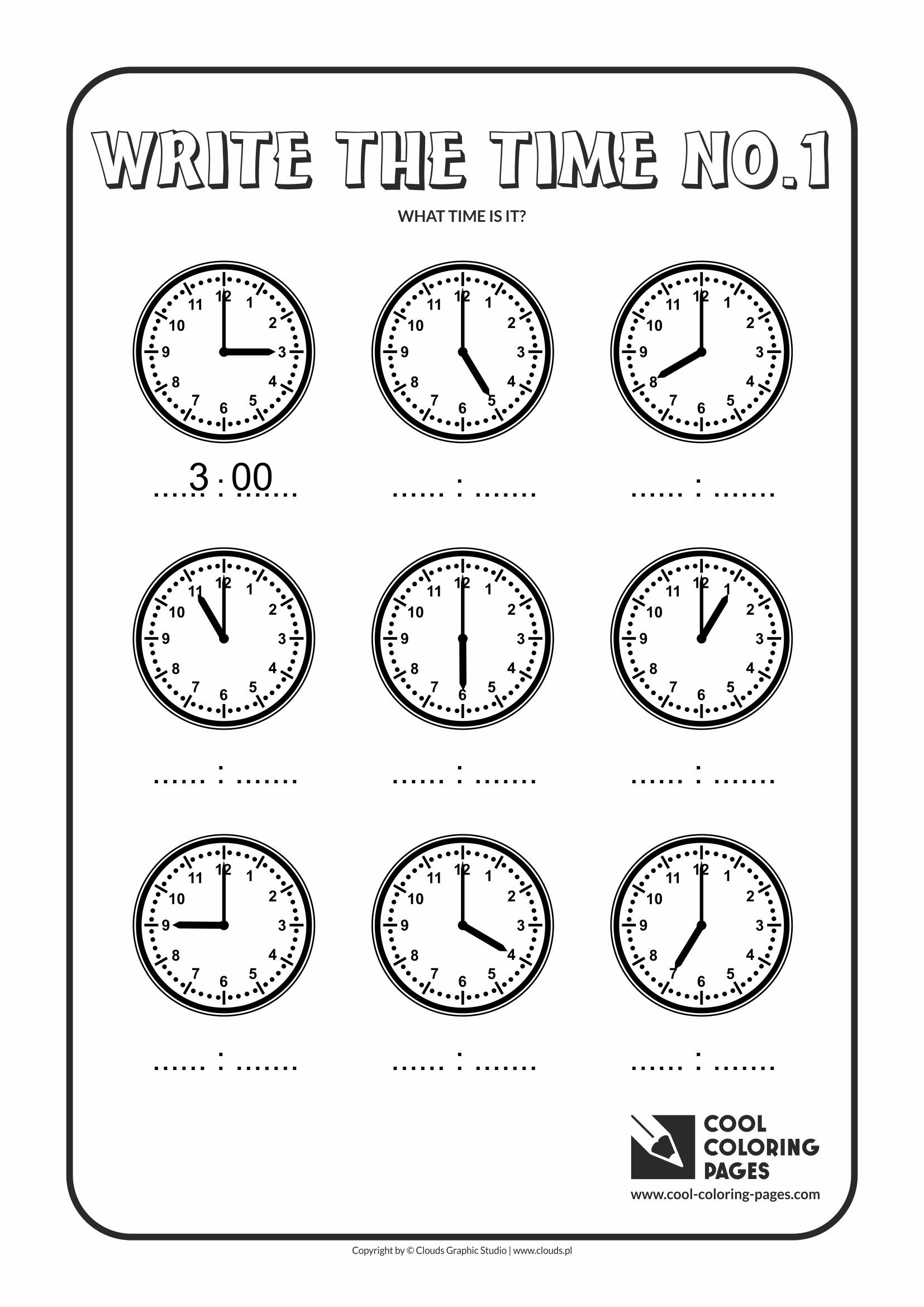 Cool Coloring Pages - Time / Write the time no.1