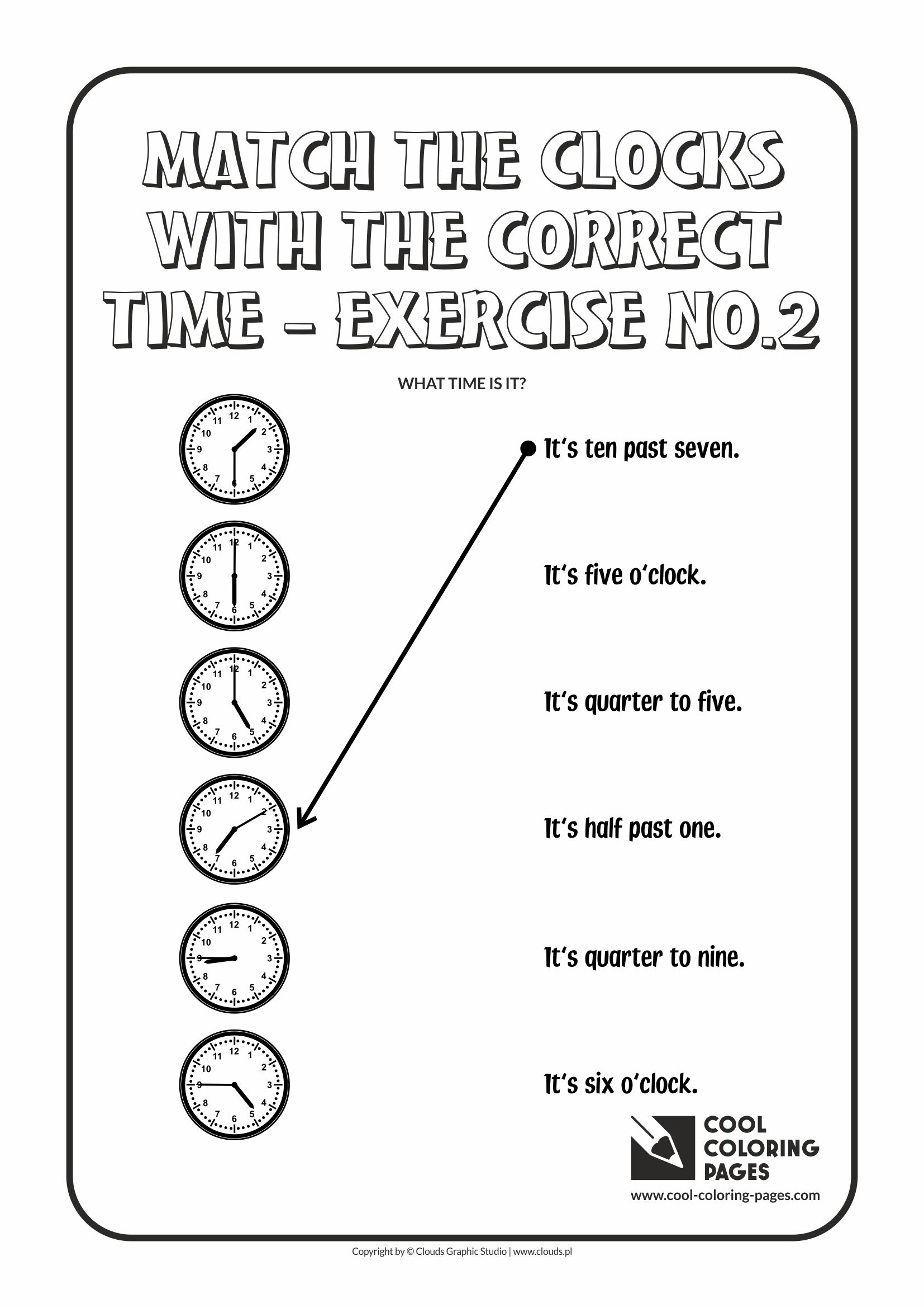 Cool Coloring Pages - Time / Match the clocks with the correct time no.2
