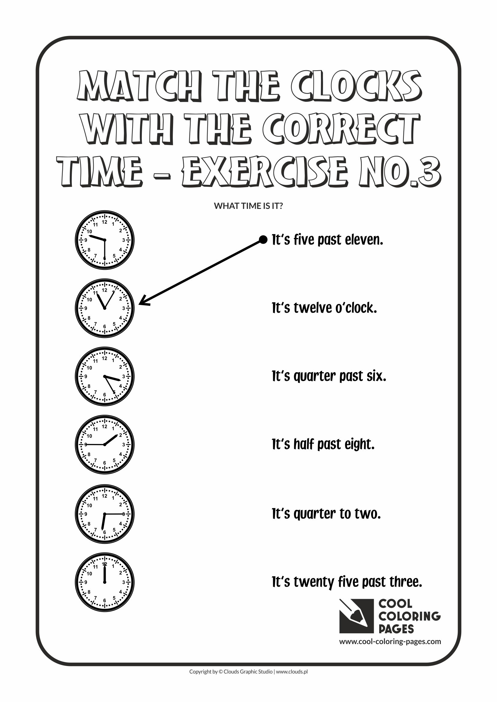 Cool Coloring Pages - Time / Match the clocks with the correct time no.3