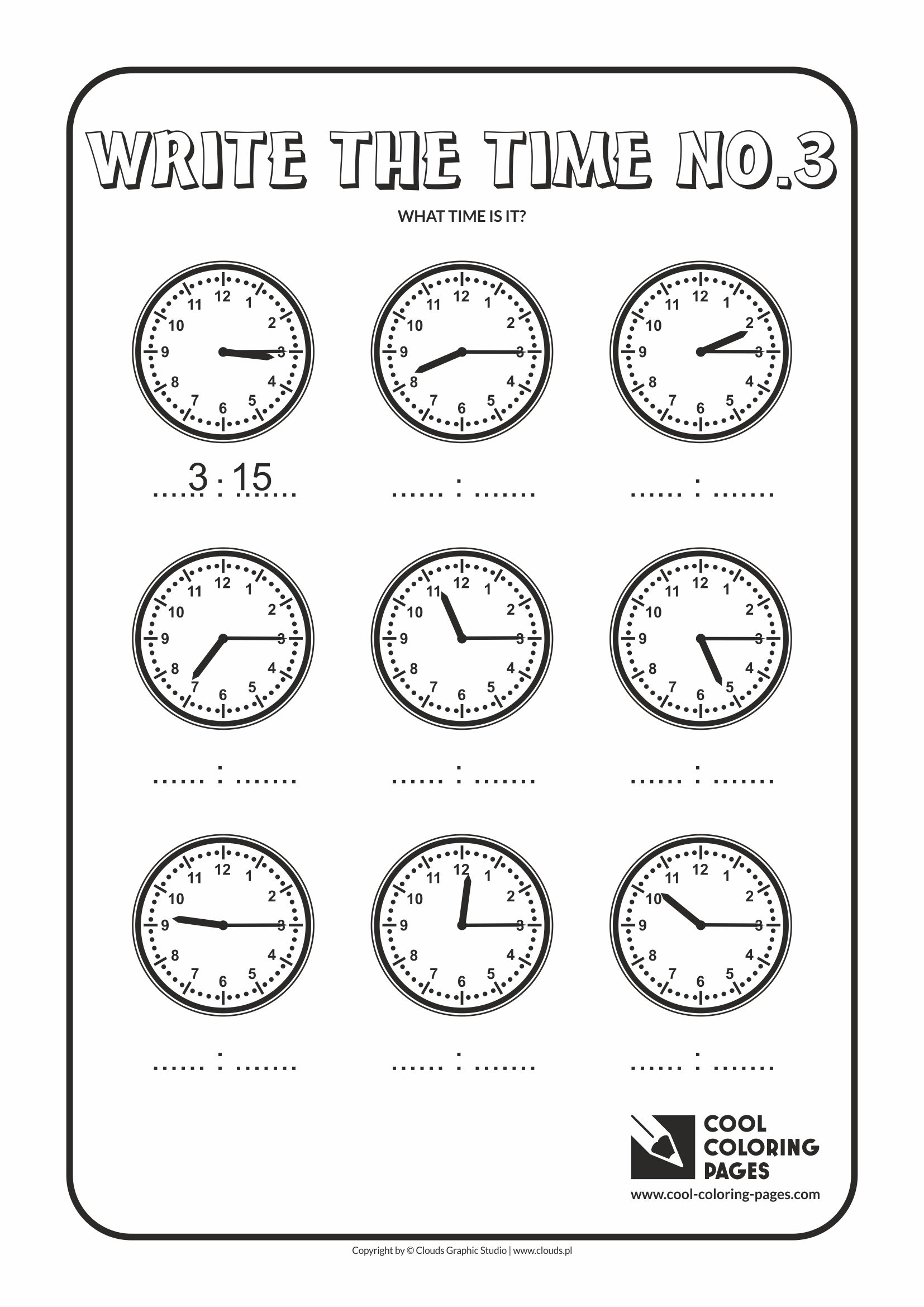 Cool Coloring Pages - Time / Write the time no.3
