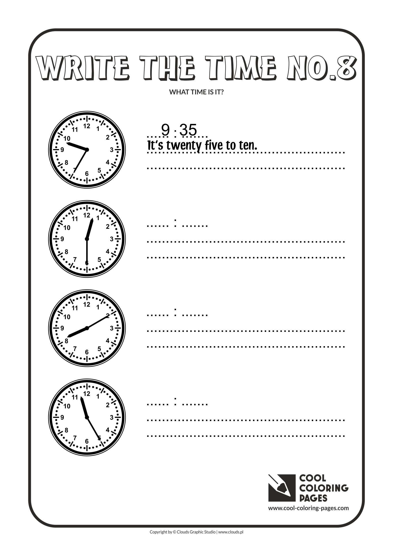 Cool Coloring Pages - Time / Write the time no.8