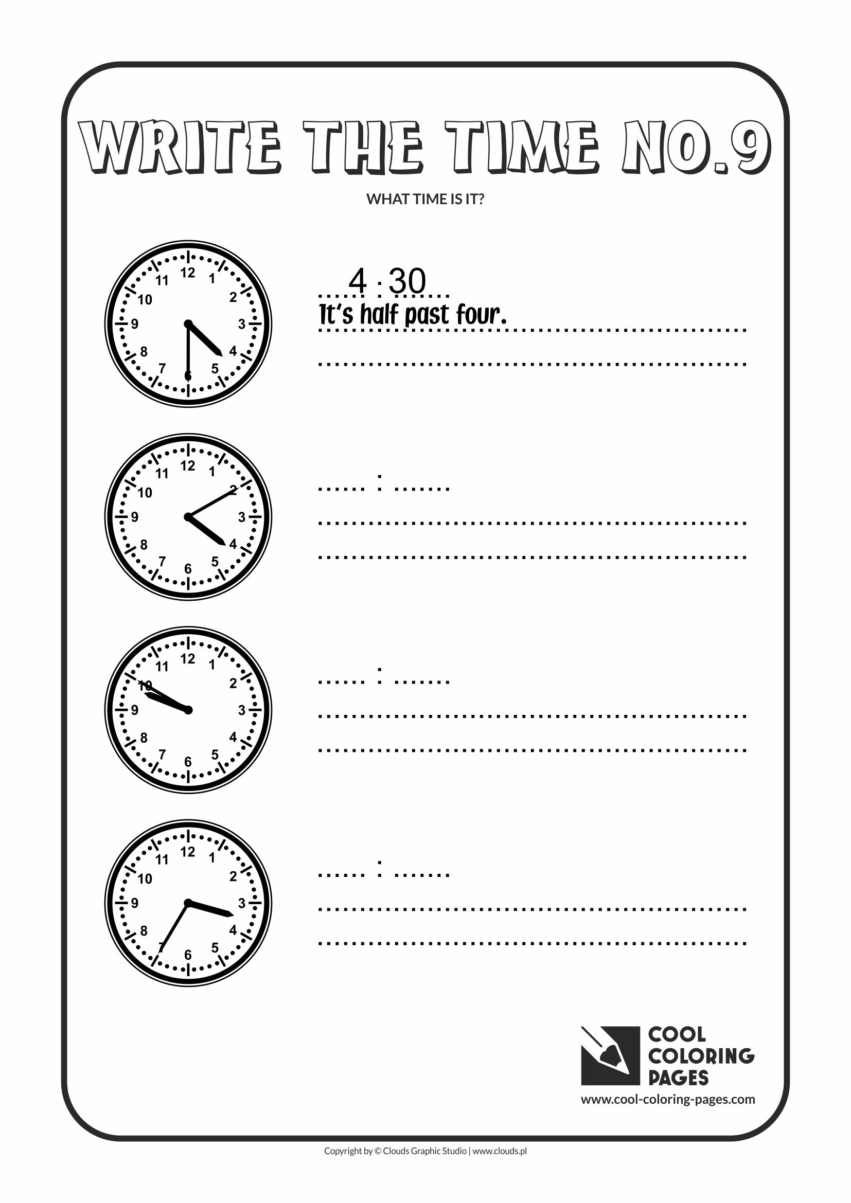 Cool Coloring Pages - Time / Write the time no.9