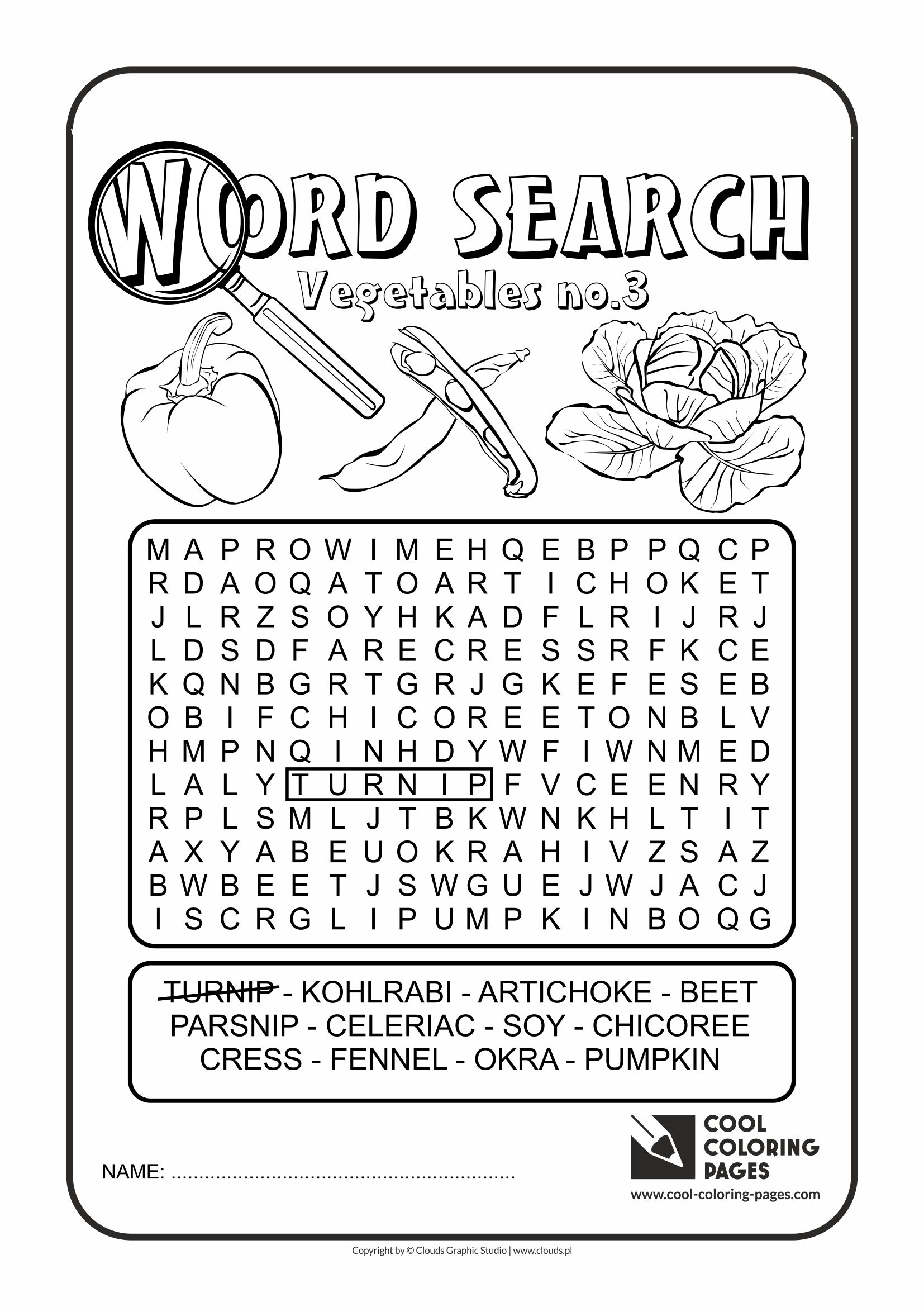 Cool Coloring Pages - Word search / Word search vegetables no 3 / Coloring page with word search vegetables no 3