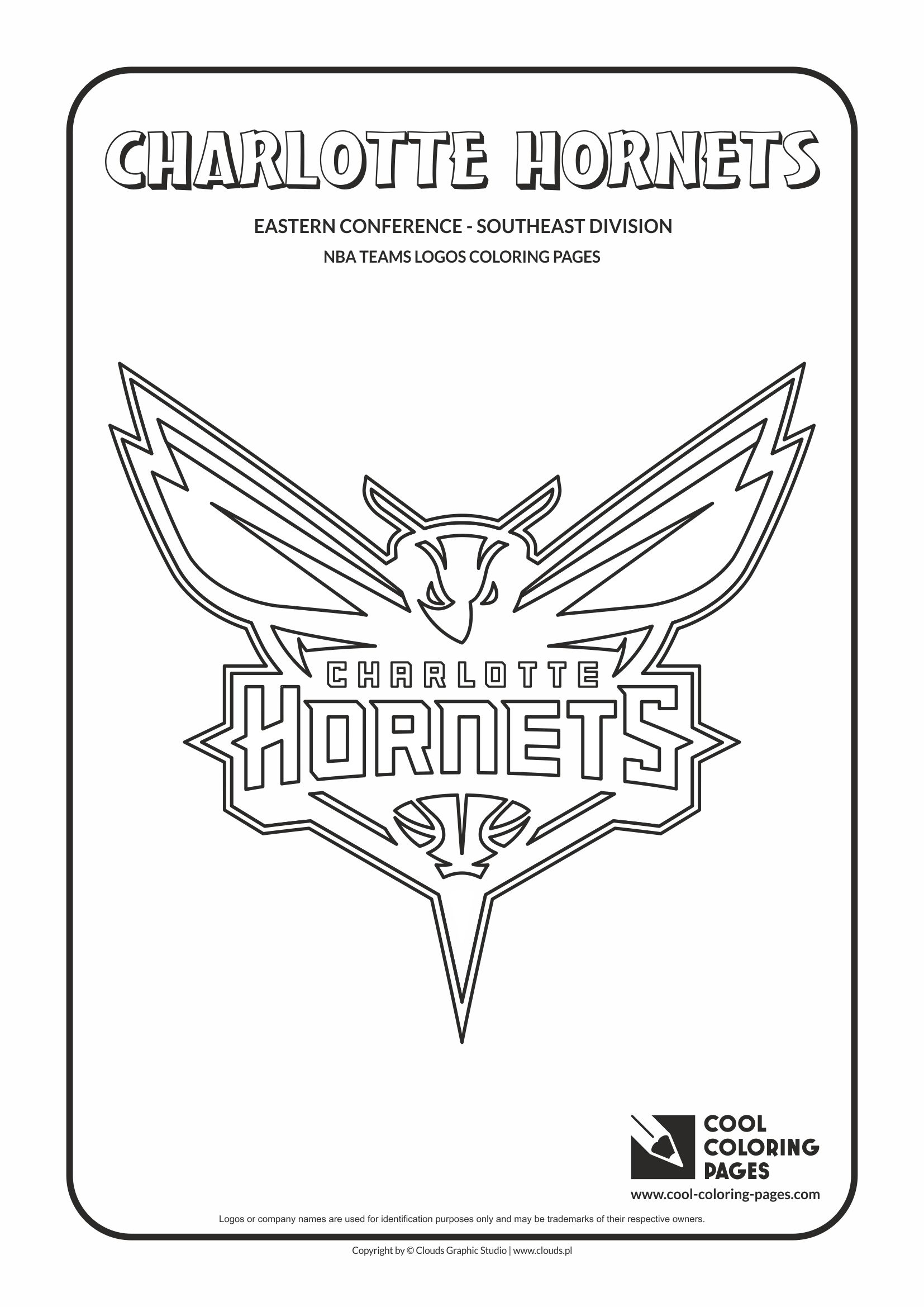 cool coloring pages nba basketball clubs logos easter conference southeast division charlotte