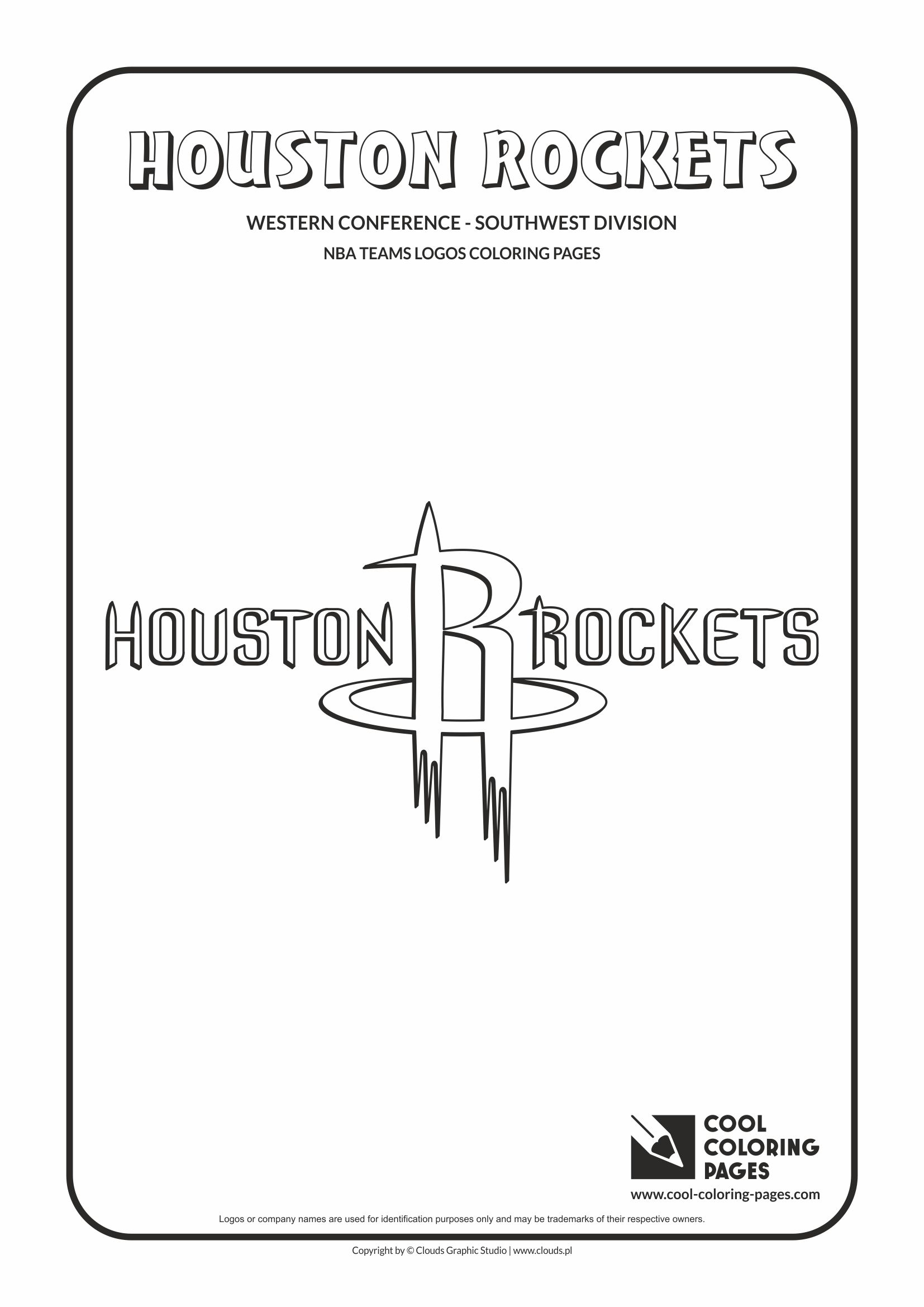 cool coloring pages nba basketball clubs logos western conference southwest division houston