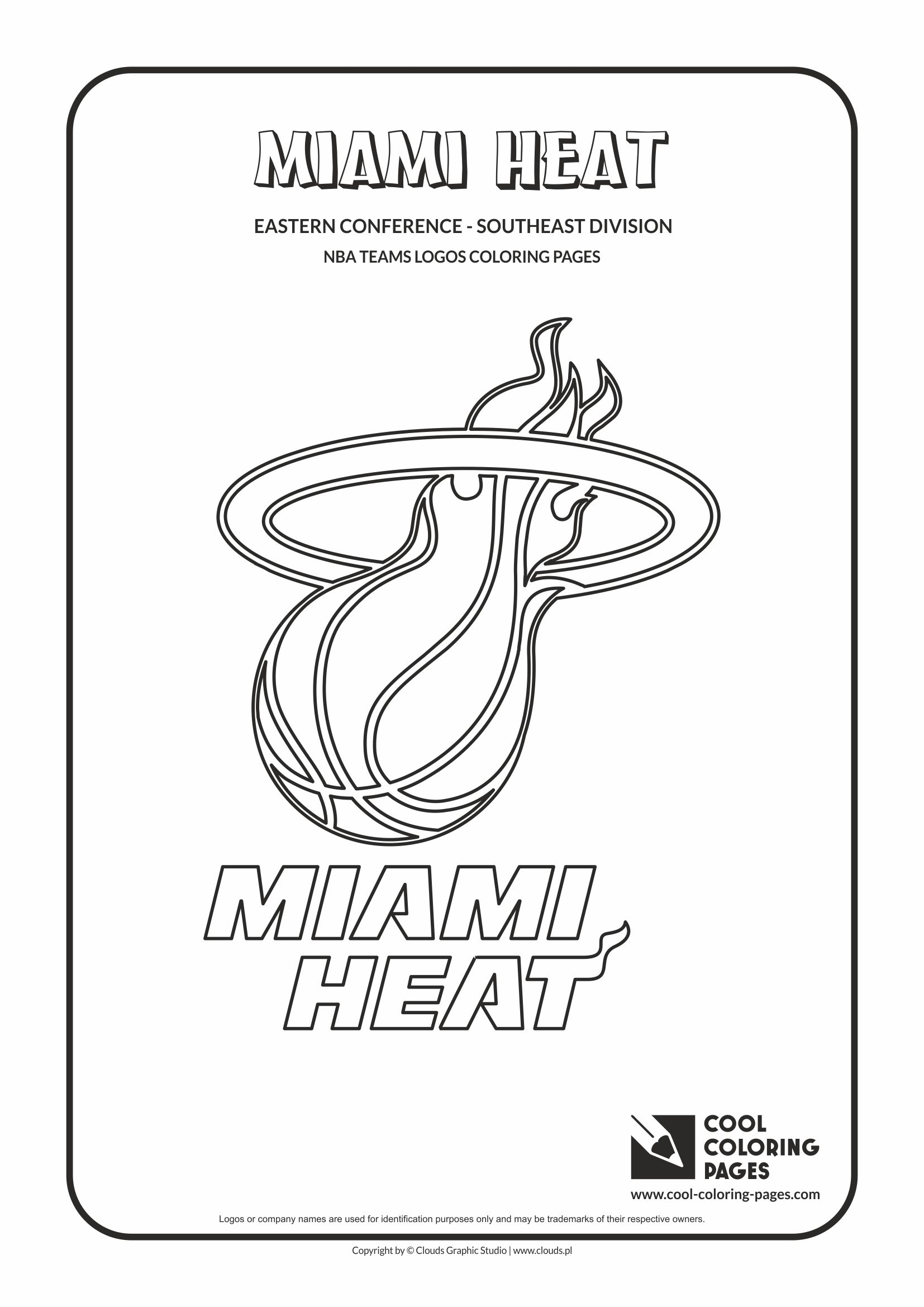 Cool coloring pages nba teams logos coloring pages cool for Miami heat coloring pages