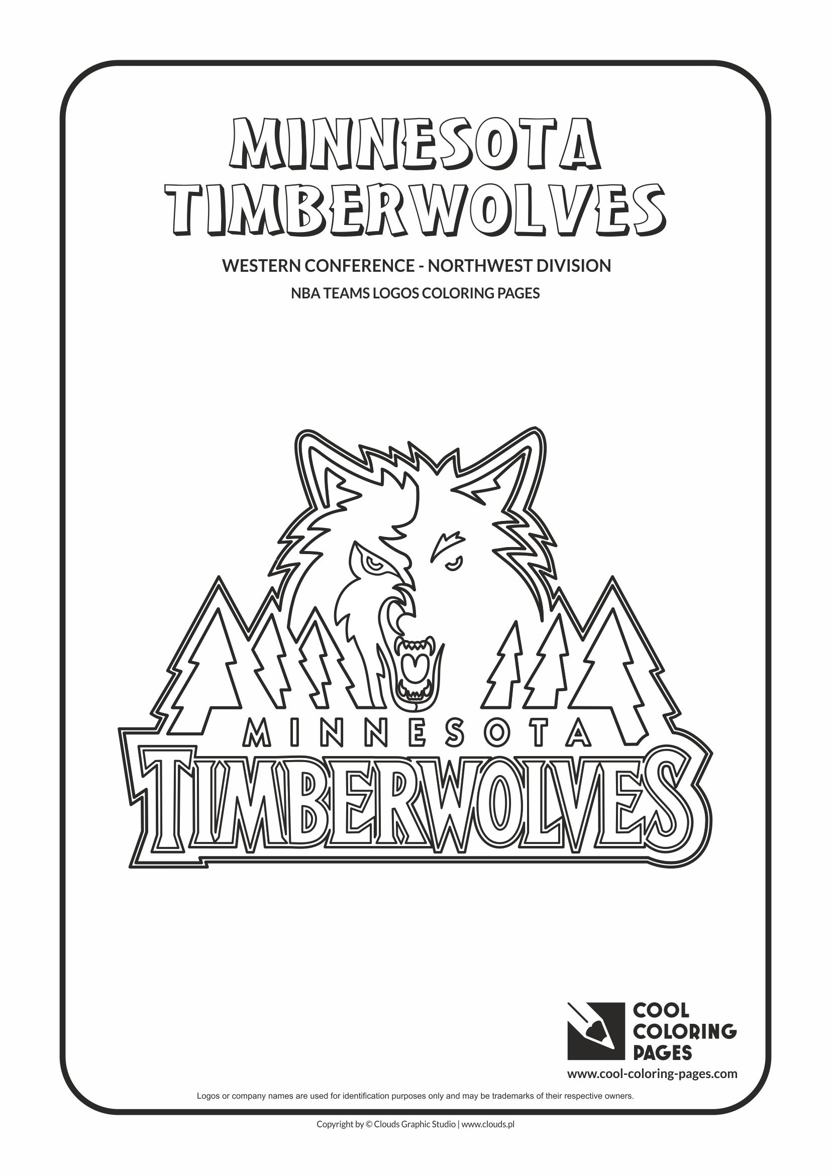 Cool coloring pages nba basketball clubs logos western conference northwest division minnesota