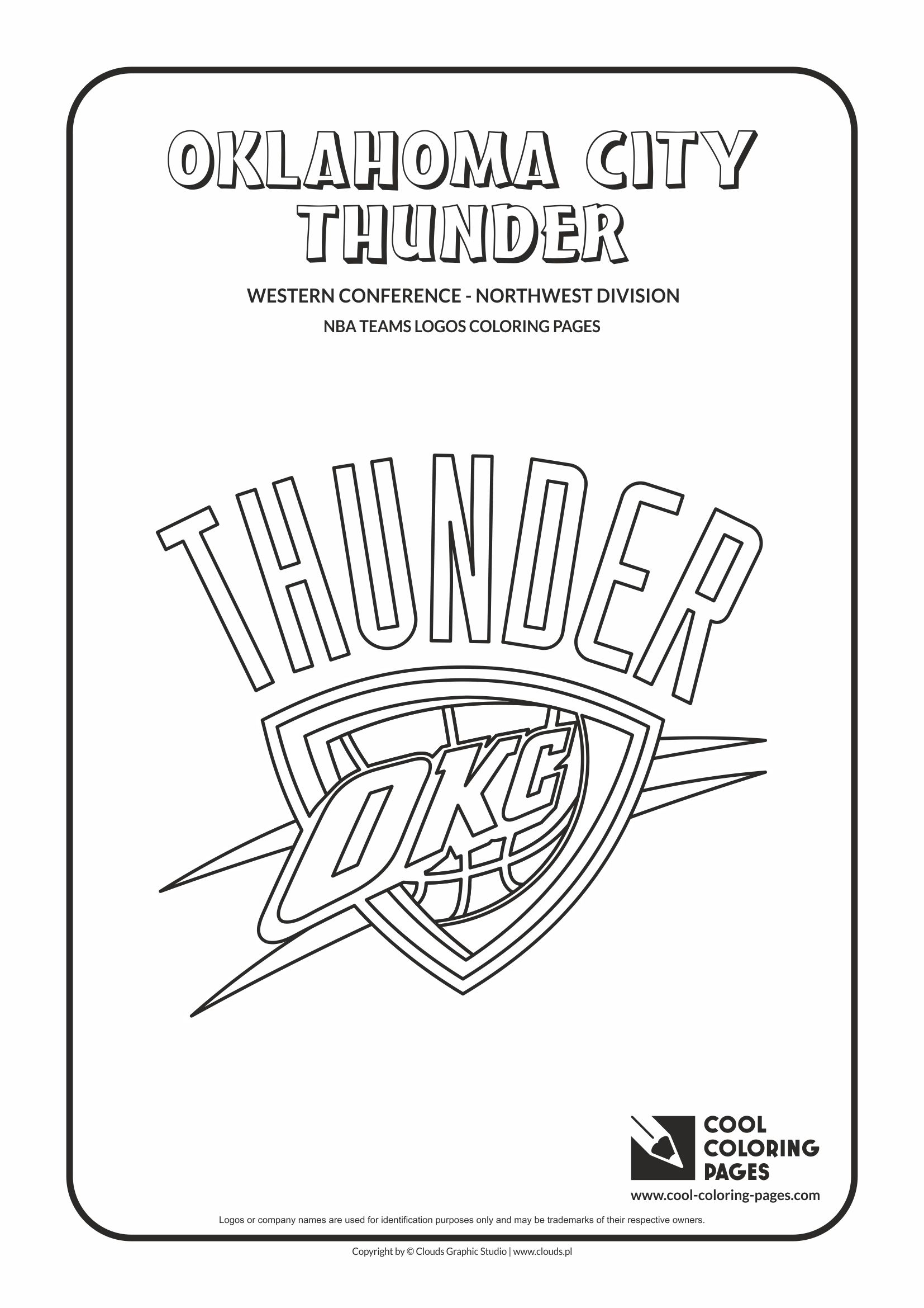 Cool coloring pages nba basketball clubs logos western conference northwest division oklahoma