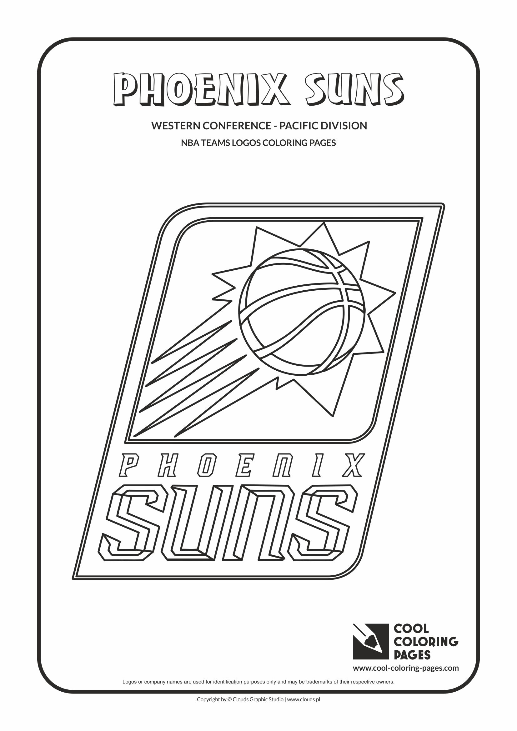 cool coloring pages nba basketball clubs logos western conference pacific division phoenix