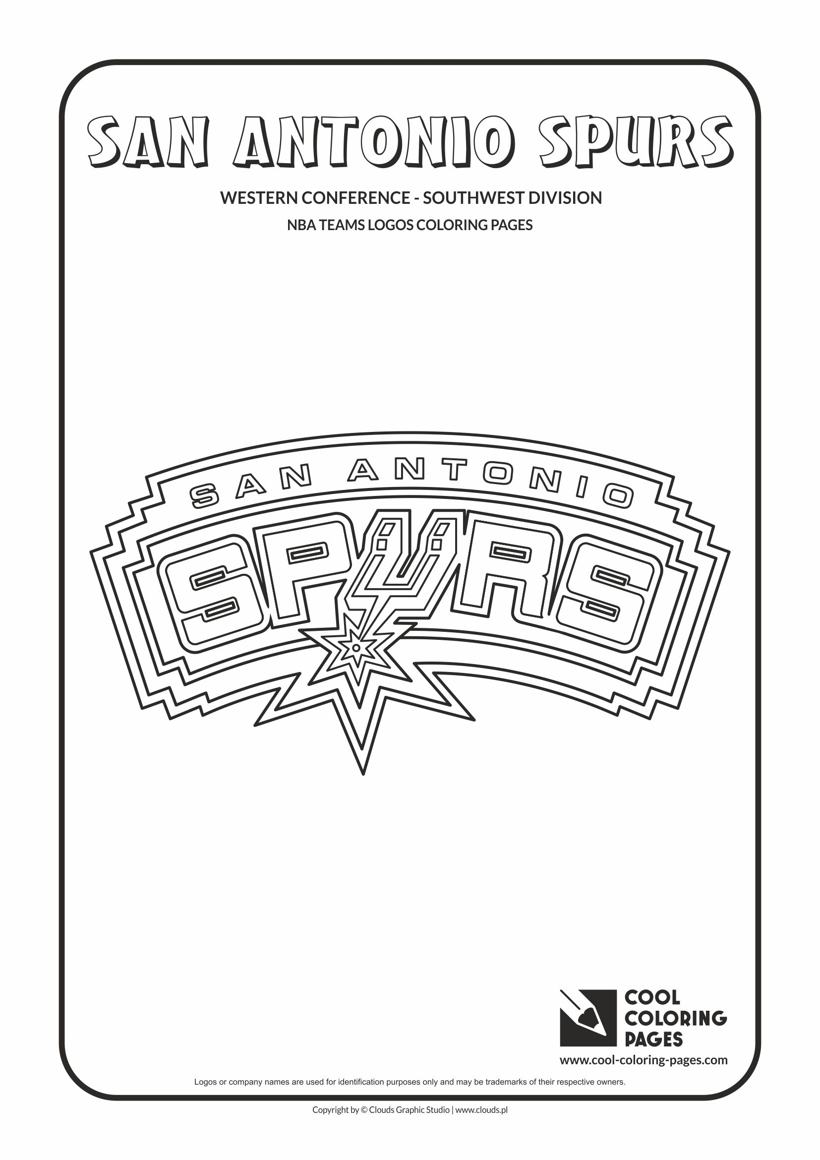 cool coloring pages nba basketball clubs logos western conference southwest division san
