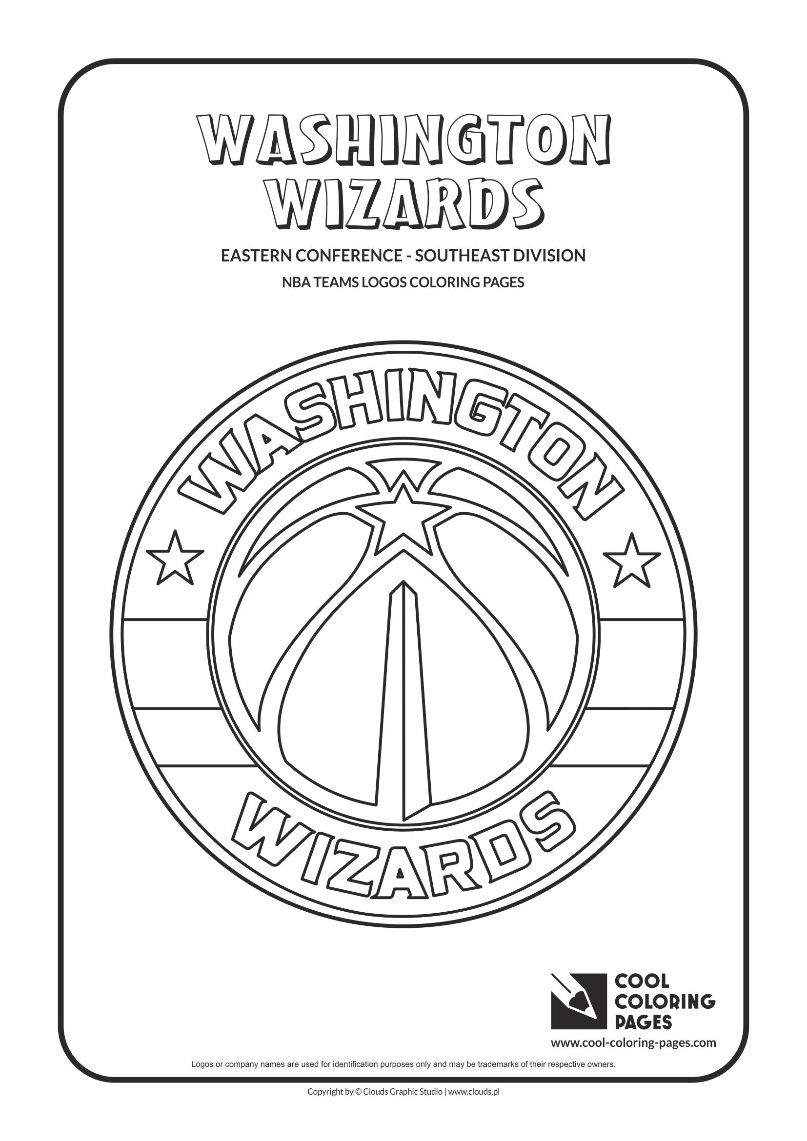 cool coloring pages nba basketball clubs logos easter conference southeast division washington