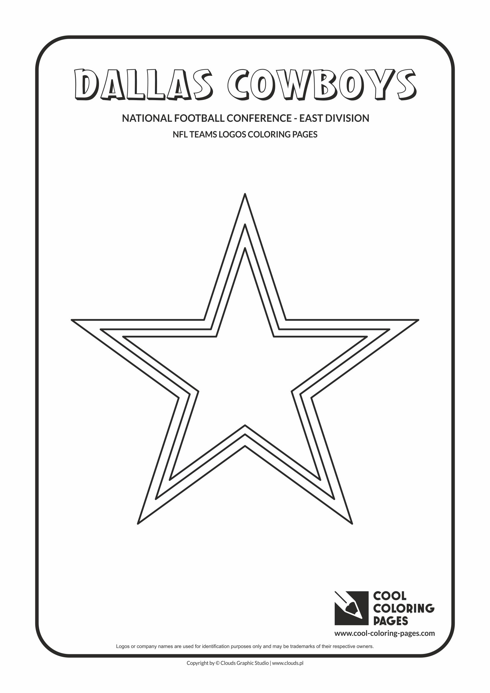 Cool Coloring Pages - NFL American Football Clubs Logos - National Football Conference - East Division / Dallas Cowboys logo / Coloring page with Dallas Cowboys logo