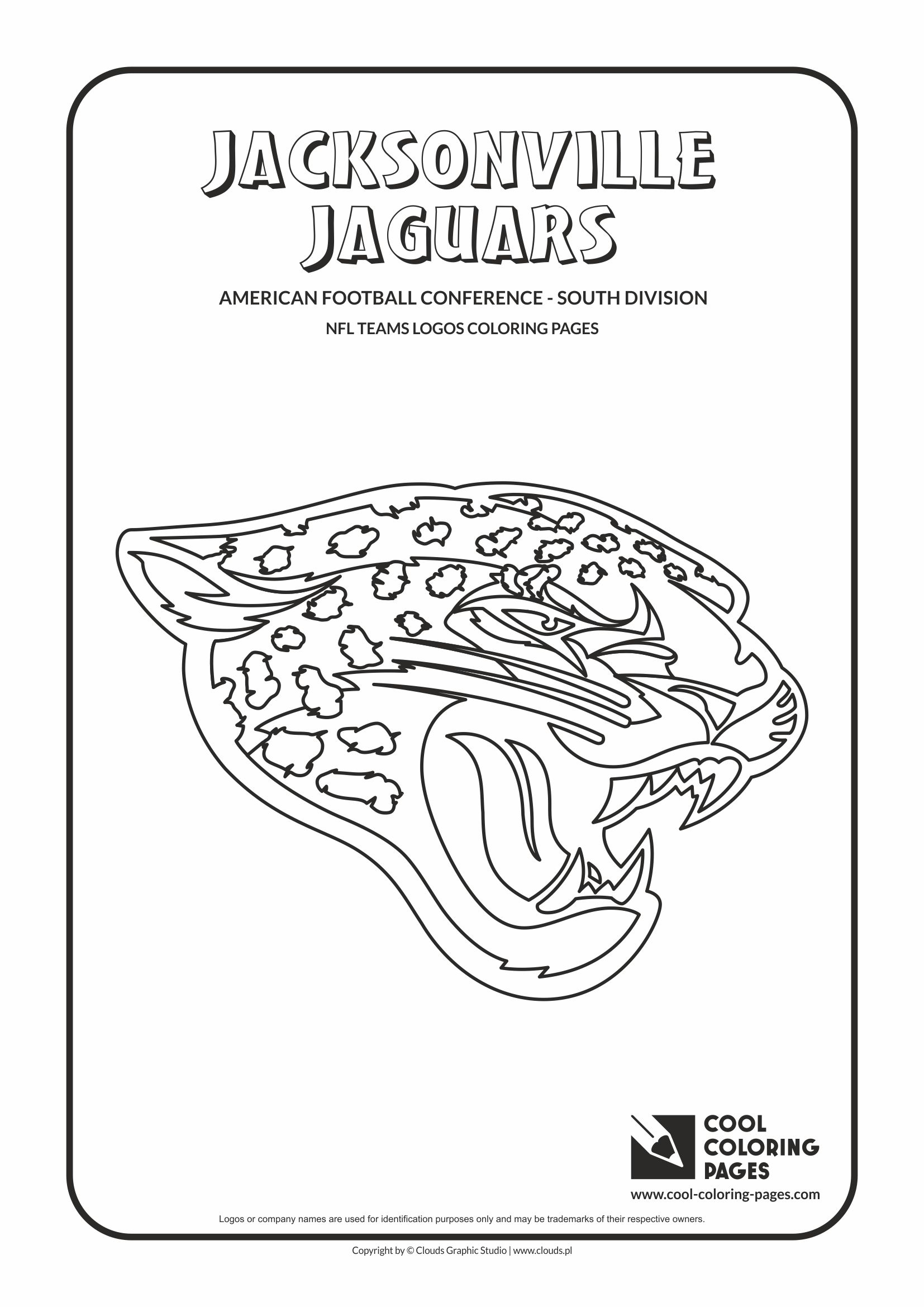 Cool Coloring Pages - NFL American Football Clubs Logos - American Football Conference - South Division / Jacksonville Jaguars logo / Coloring page with Jacksonville Jaguars logo