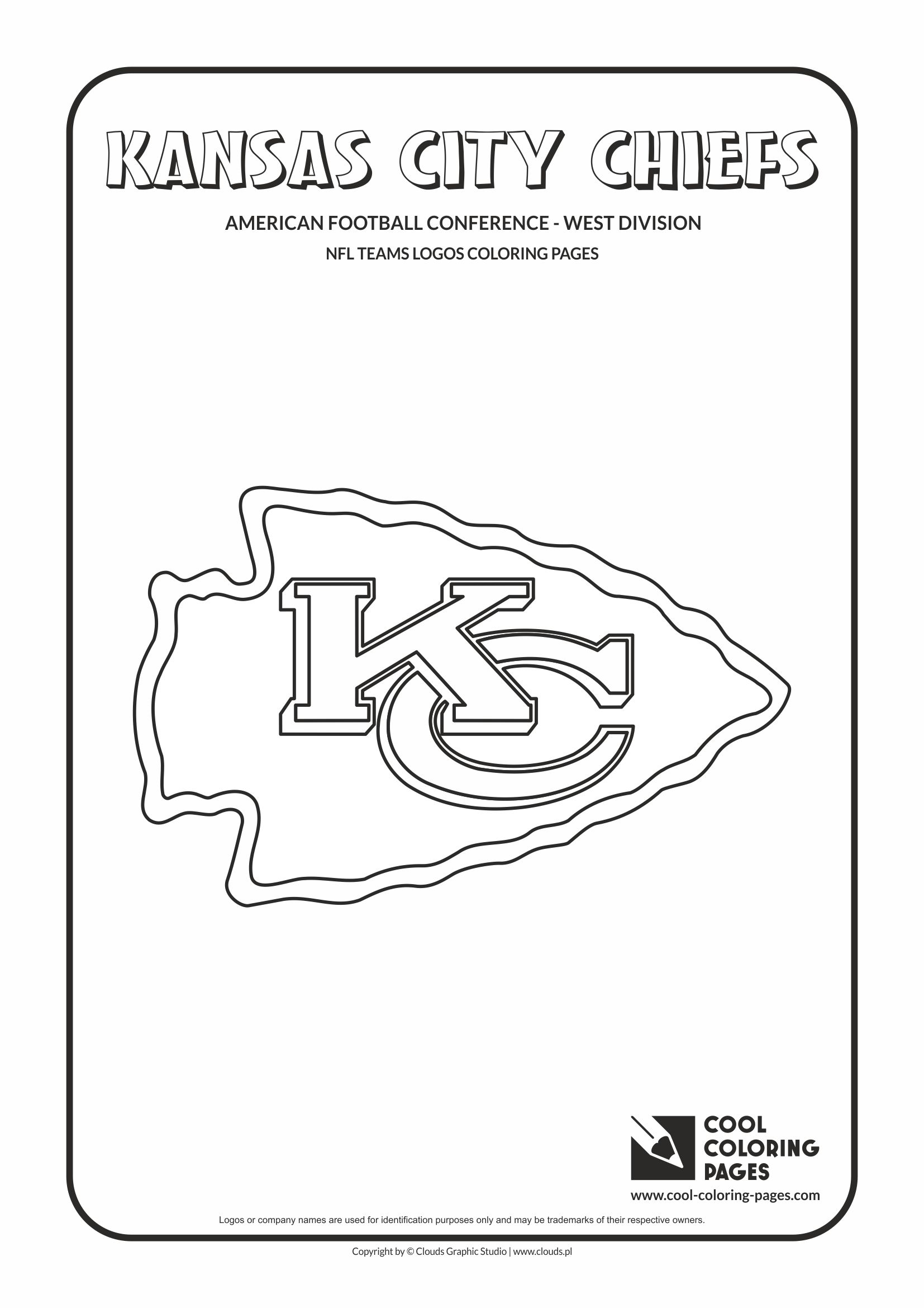 Cool Coloring Pages - NFL American Football Clubs Logos - American Football Conference - West Division / Kansas City Chiefs logo / Coloring page with Kansas City Chiefs logo