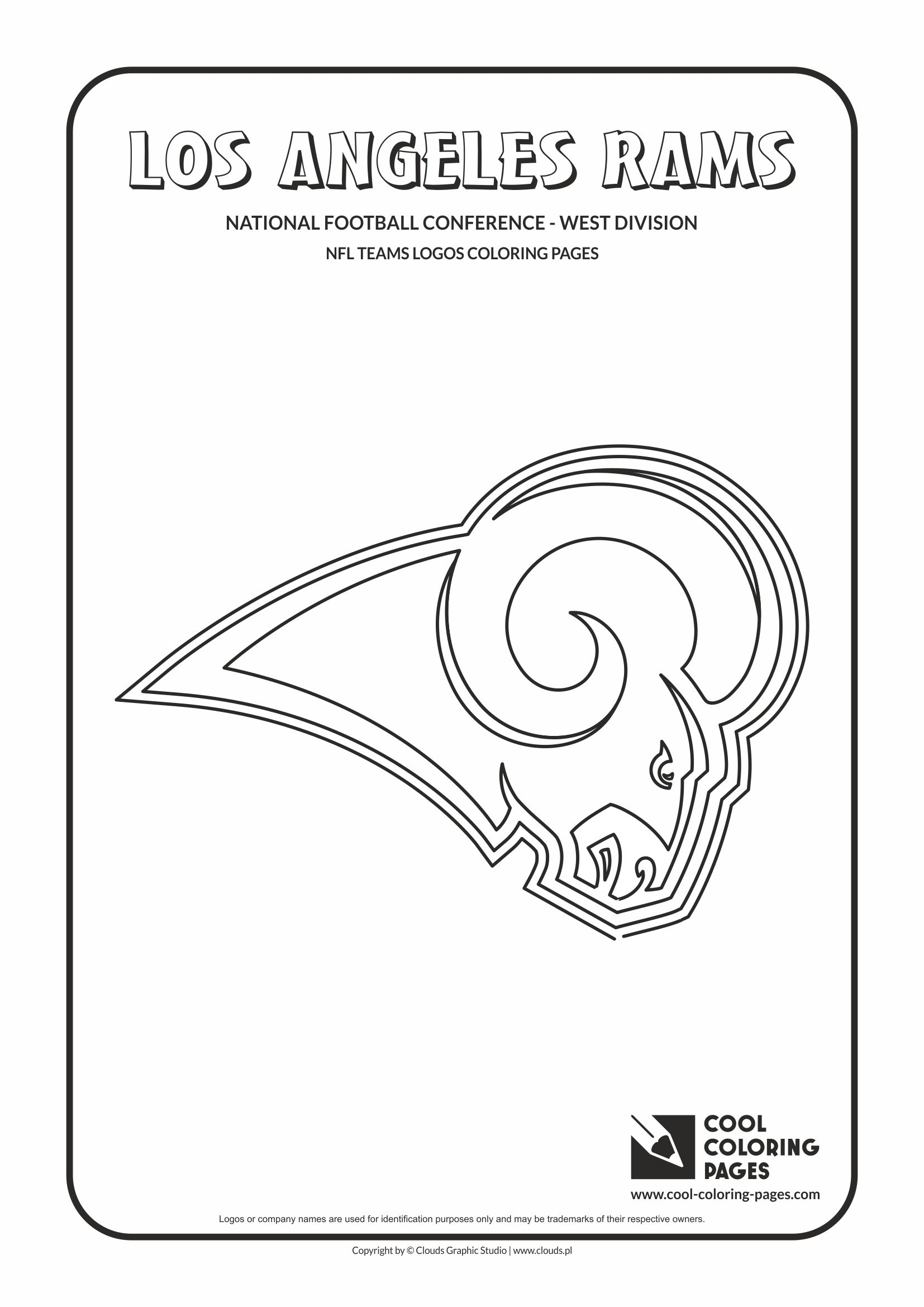Cool Coloring Pages - NFL American Football Clubs Logos - National Football Conference - West Division / Los Angeles Rams logo / Coloring page with Los Angeles Rams logo