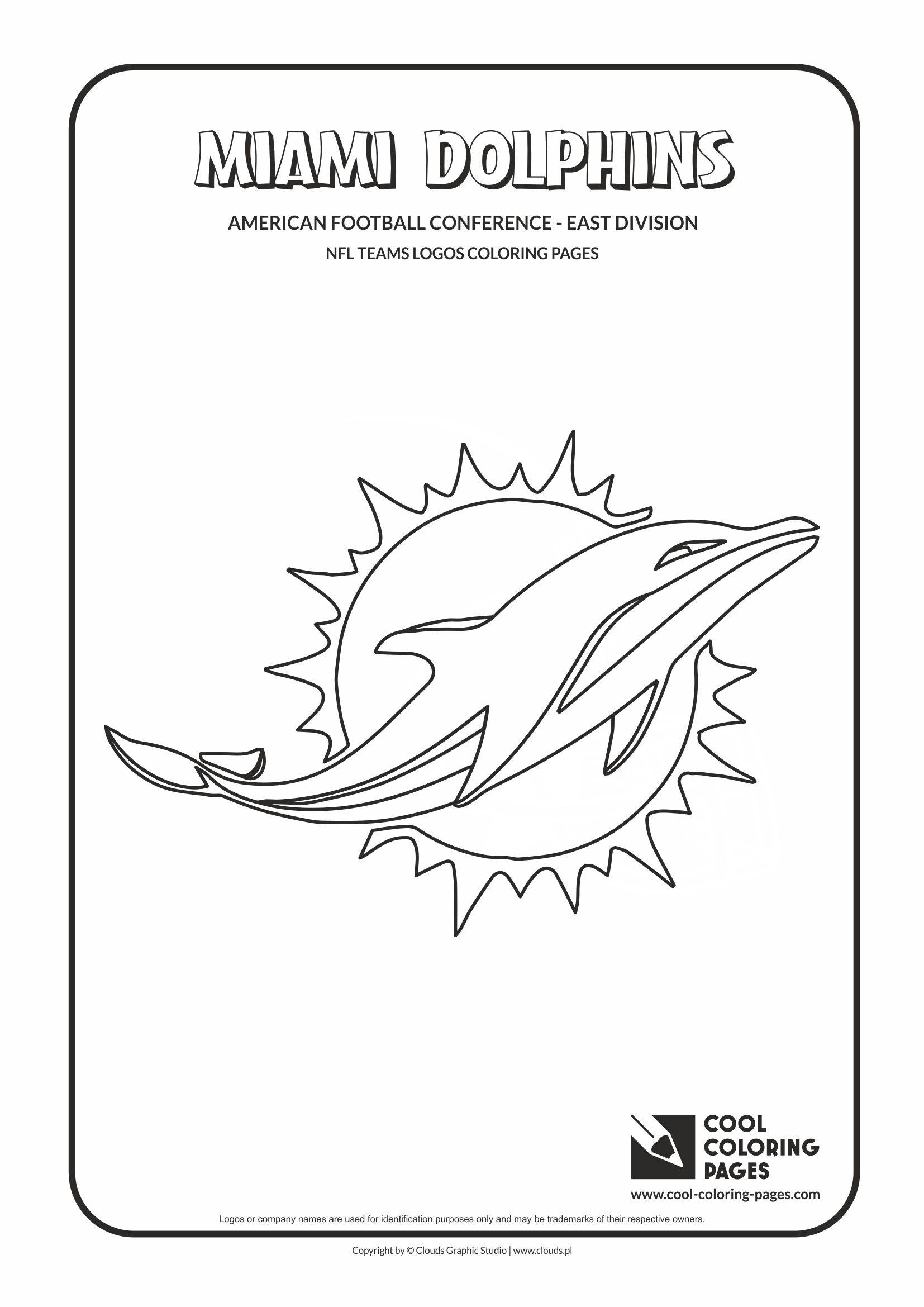 Cool Coloring Pages - NFL American Football Clubs Logos - American Football Conference - East Division / Miami Dolphins logo / Coloring page with Miami Dolphins logo