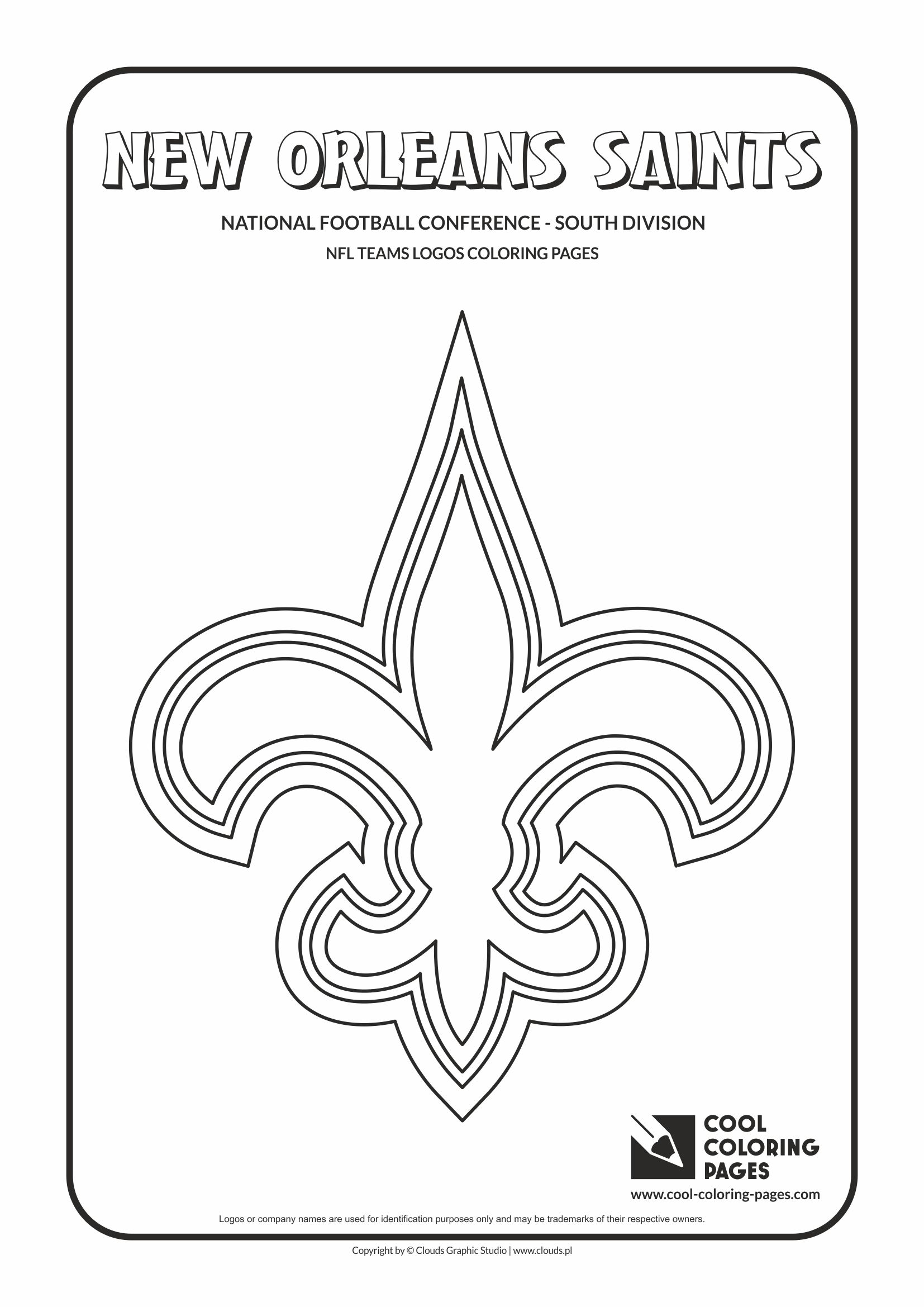 Cool Coloring Pages - NFL American Football Clubs Logos - National Football Conference - South Division / New Orleans Saints logo / Coloring page with New Orleans Saints logo