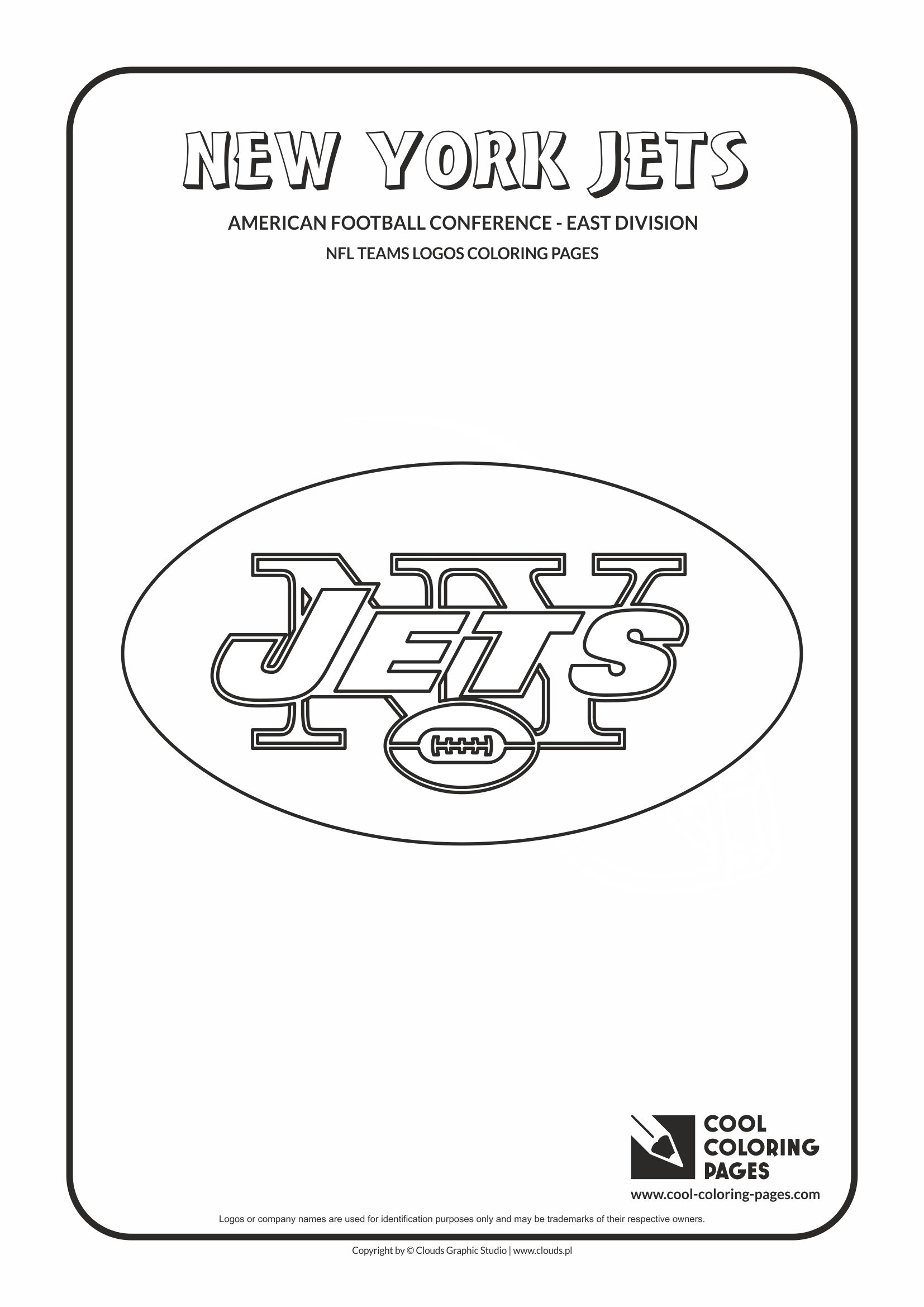 Cool Coloring Pages - NFL American Football Clubs Logos - American Football Conference - East Division / New York Jets logo / Coloring page with New York Jets logo
