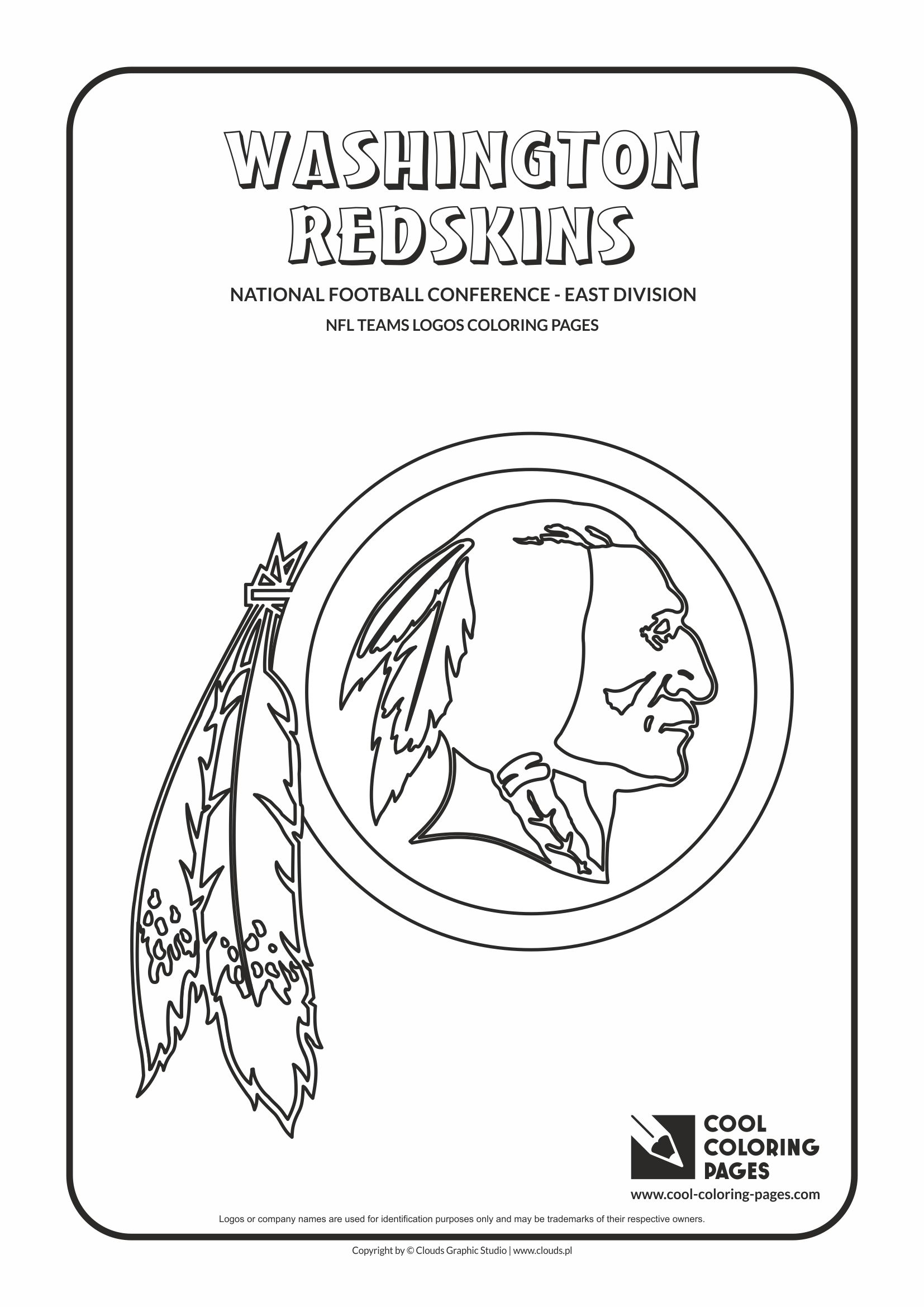 Cool Coloring Pages - NFL American Football Clubs Logos - National Football Conference - East Division / Washington Redskins logo / Coloring page with Washington Redskins logo