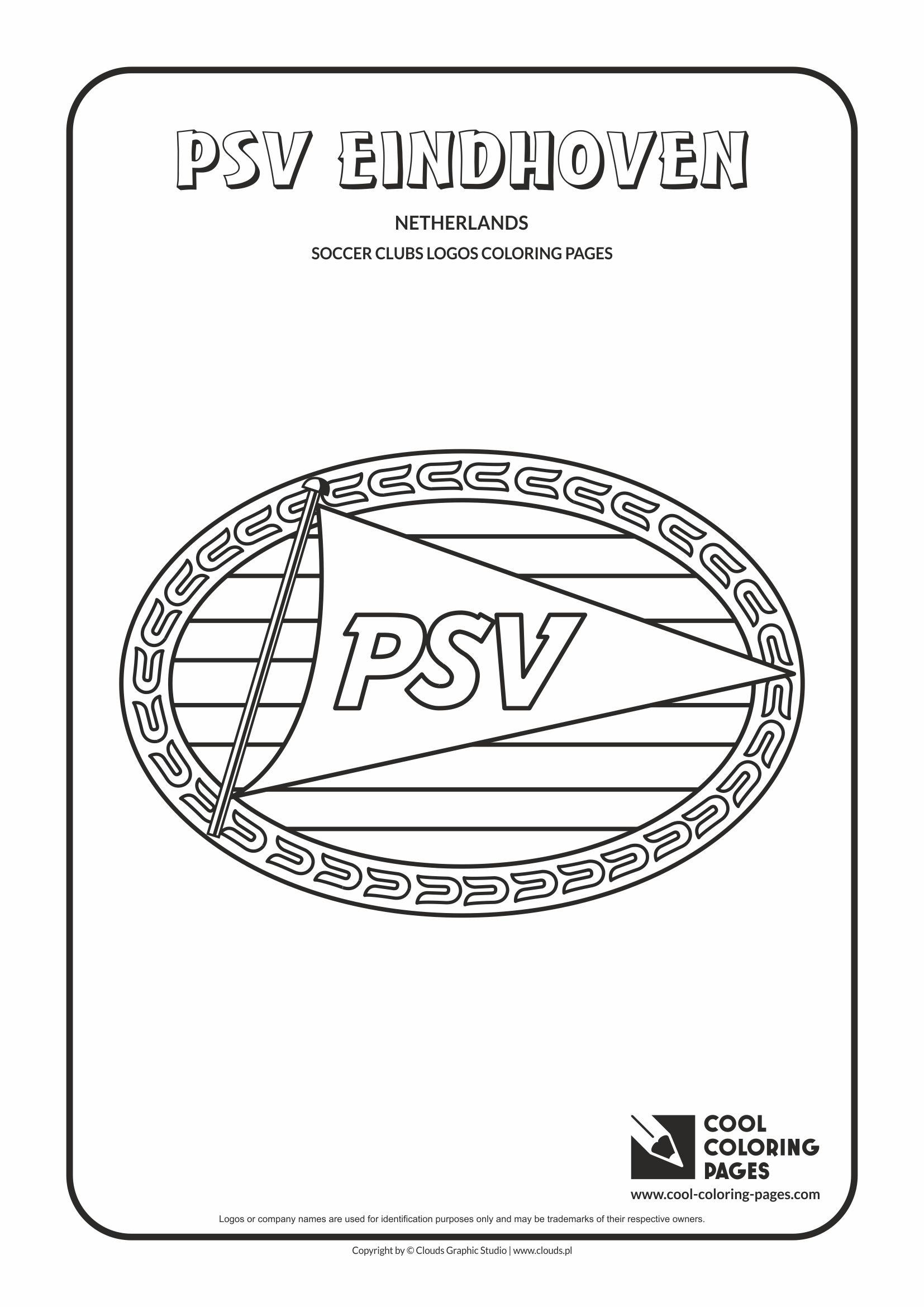 Cool Coloring Pages - Soccer Clubs Logos / PSV Einghoven logo / Coloring page with PSV Einghoven logo