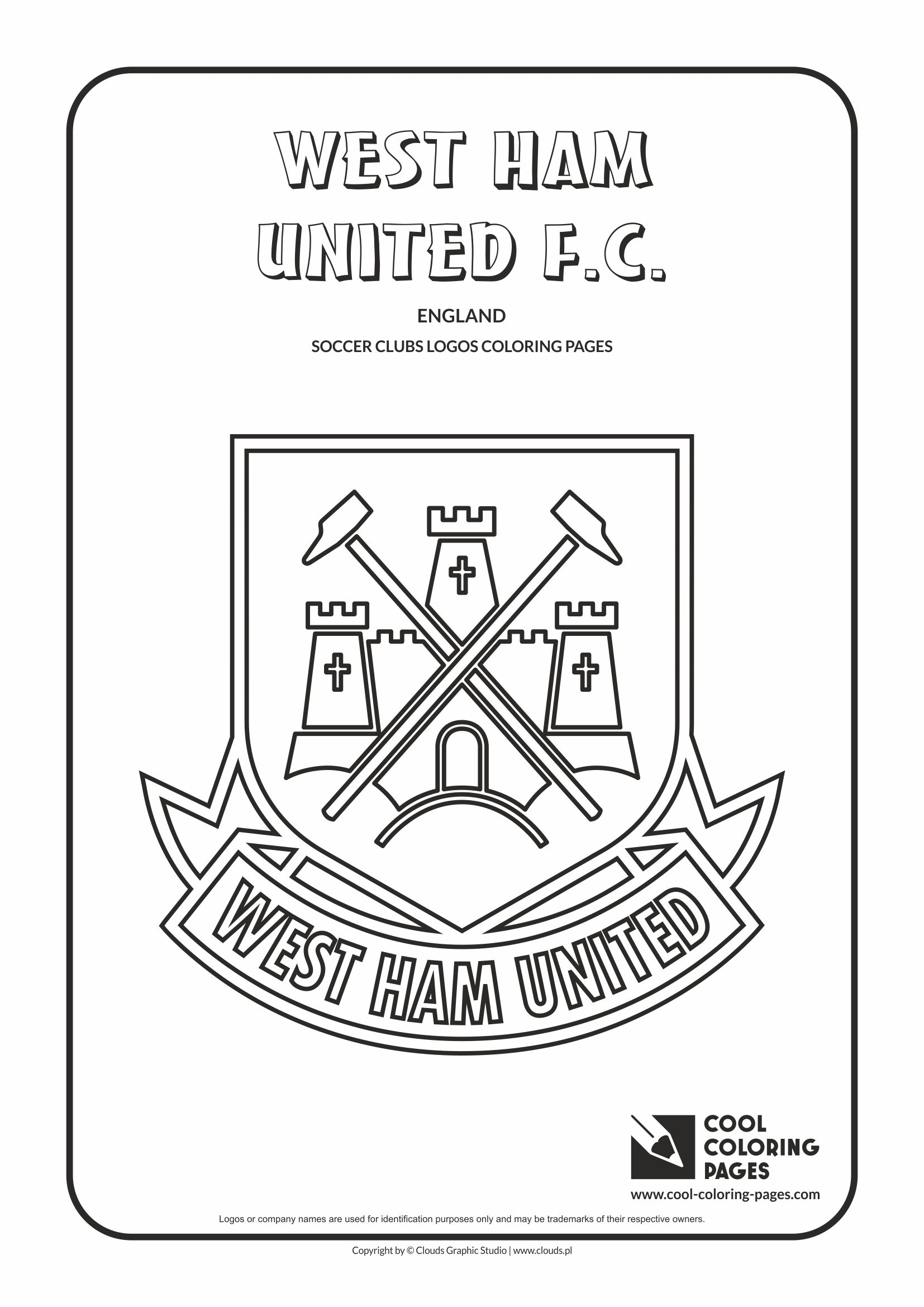 cool coloring pages soccer clubs logos west ham united fc logo coloring page