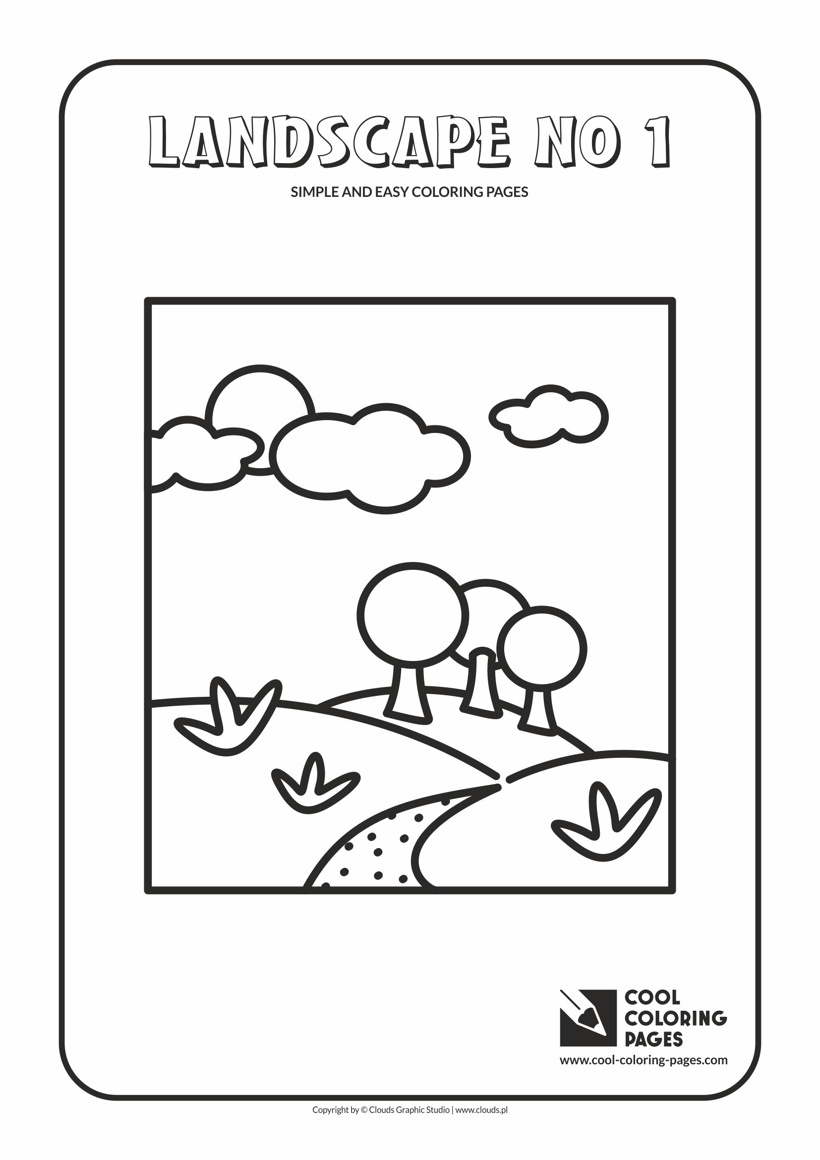 Simple and easy coloring pages for toddlers - Landscape no 1