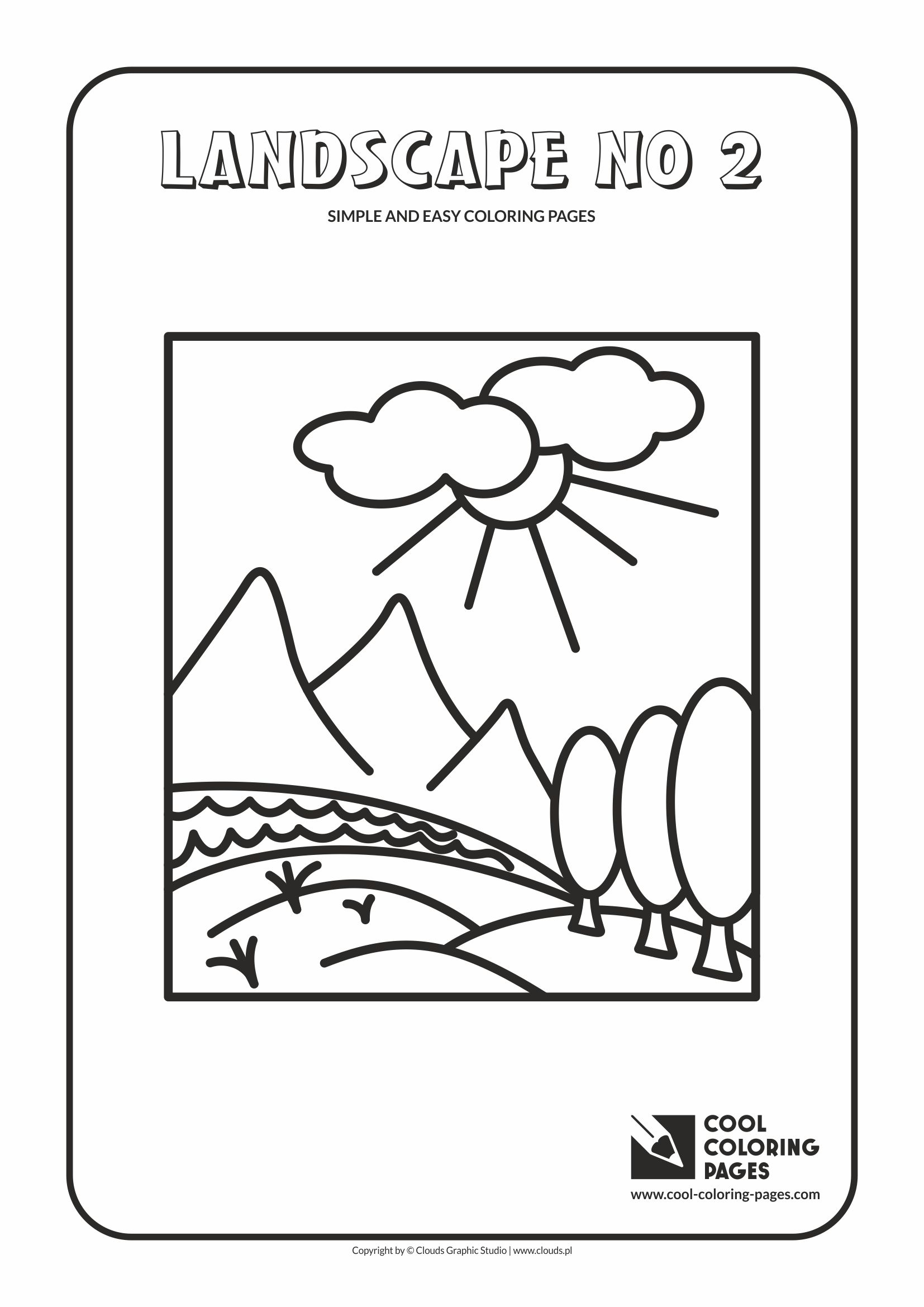 Simple and easy coloring pages for toddlers - Landscape no 2