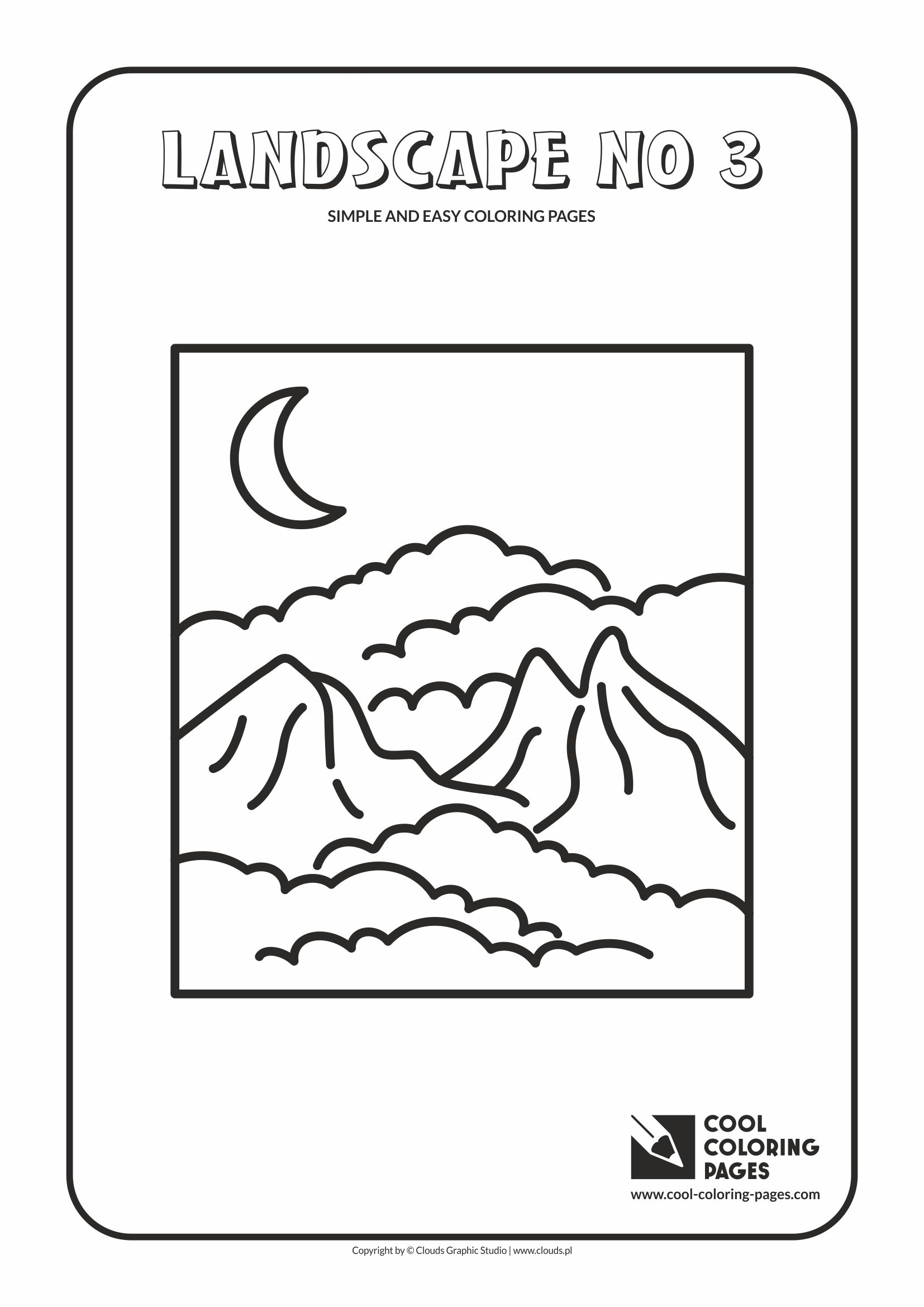 Simple and easy coloring pages for toddlers - Landscape no 3