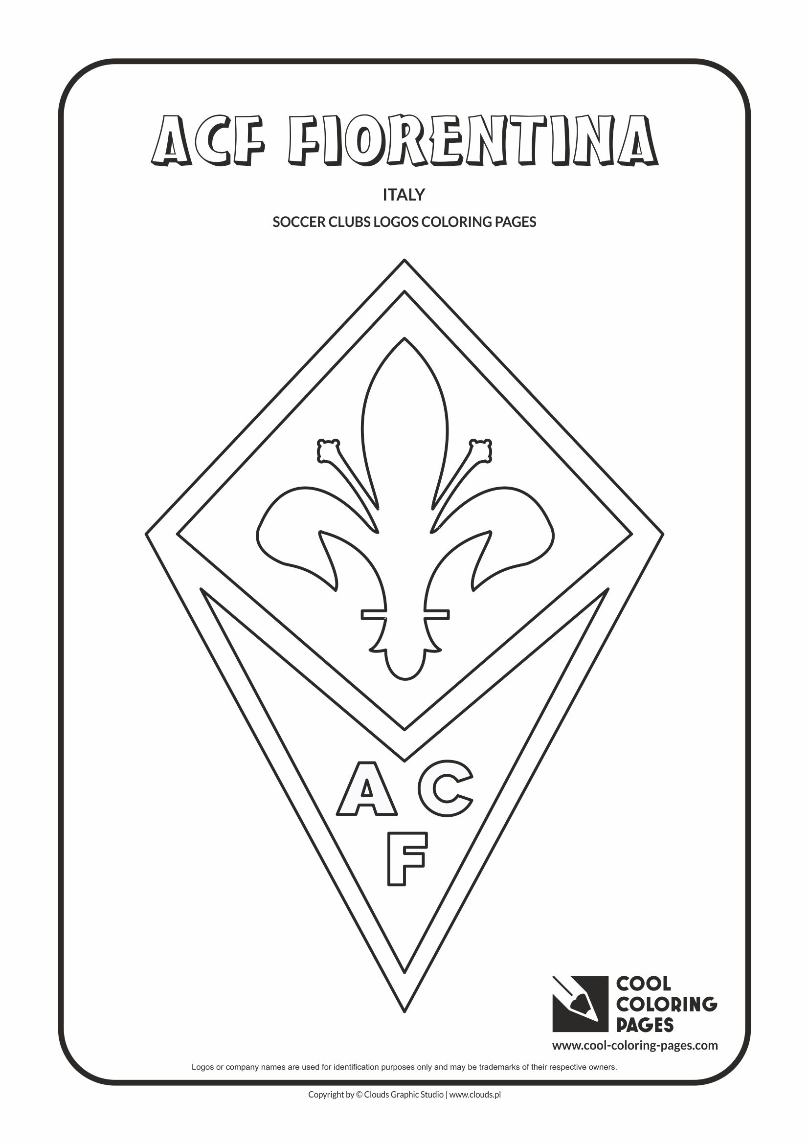 Uncategorized Logo Coloring Pages soccer clubs logos cool coloring pages acf fiorentina logo page with colouring