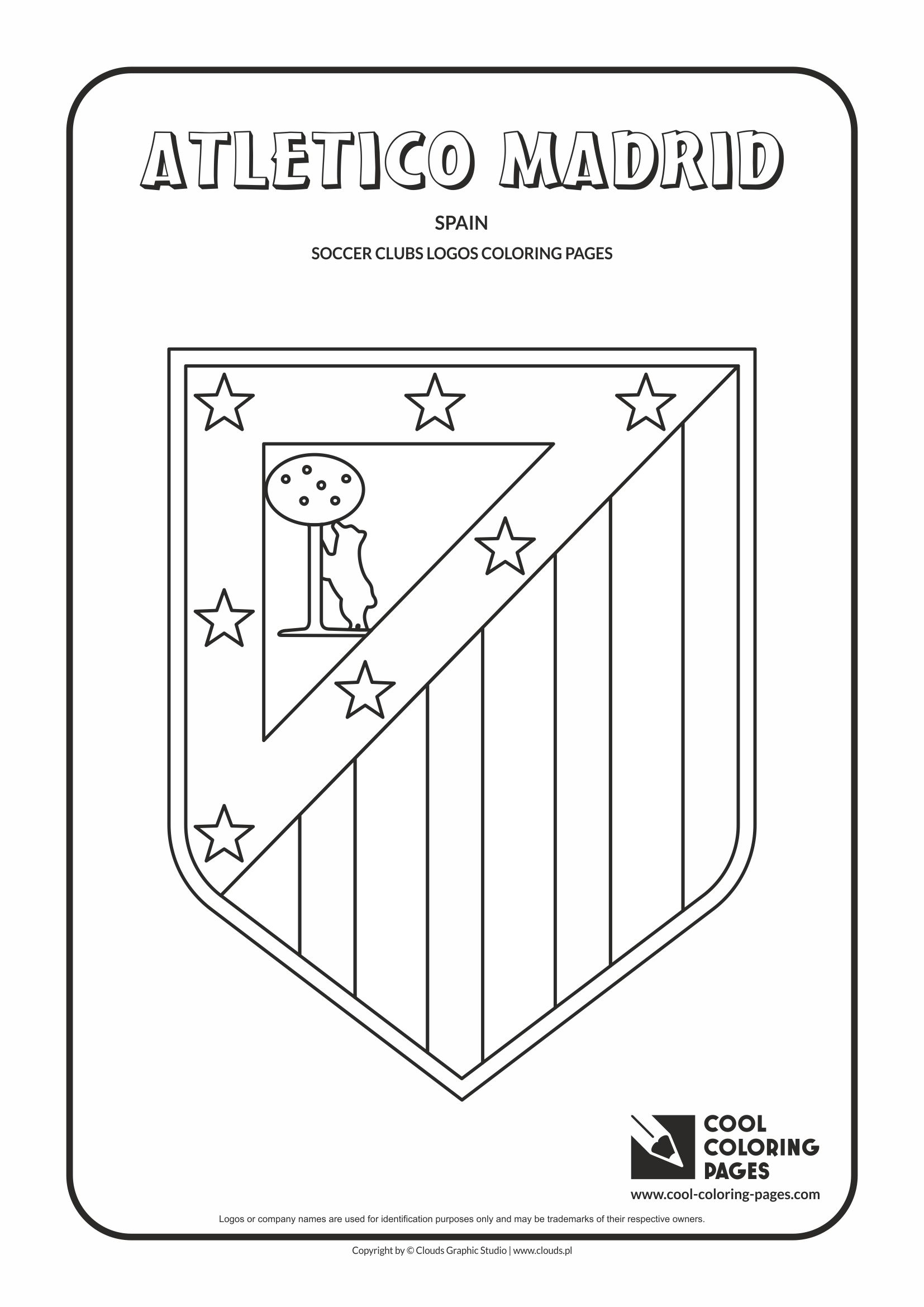 Atletico Madrid logo coloring / Coloring page with Atletico Madrid logo / Atletico Madrid logo colouring page.