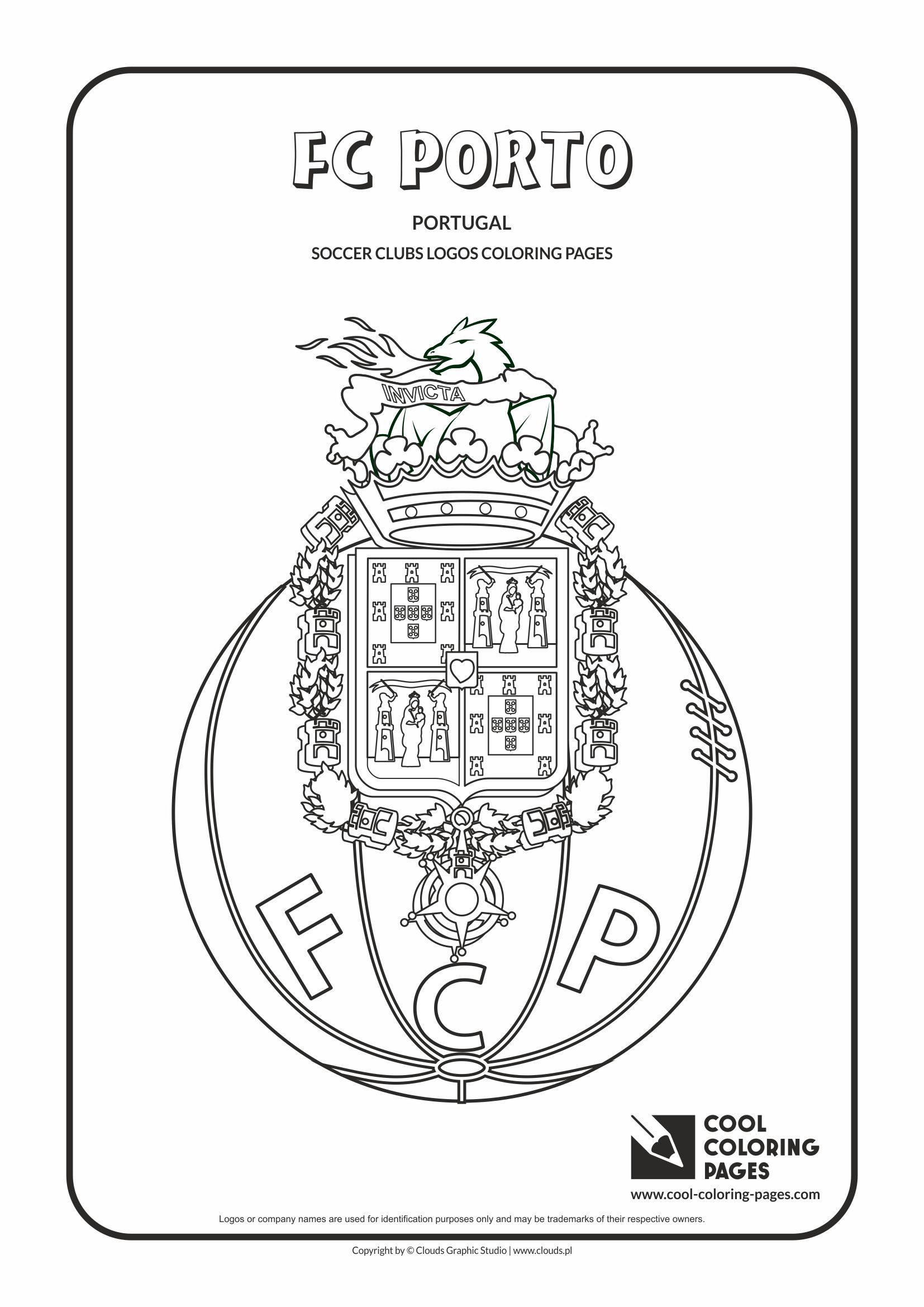 FC Porto logo coloring / Coloring page with FC Porto logo / FC Porto logo colouring page.