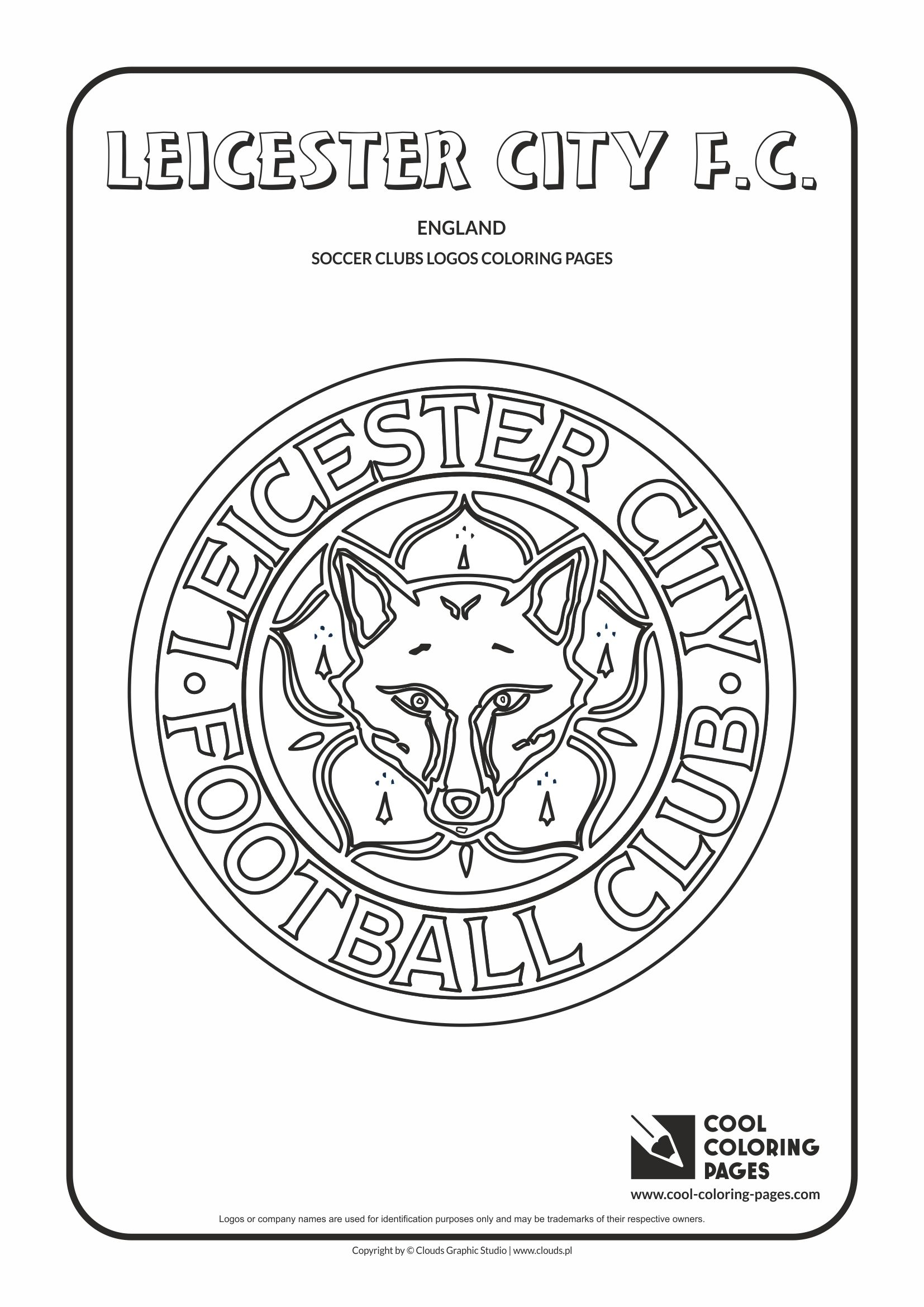 Leicester City F.C. logo coloring / Coloring page with Leicester City F.C. logo / Leicester City F.C. logo colouring page.