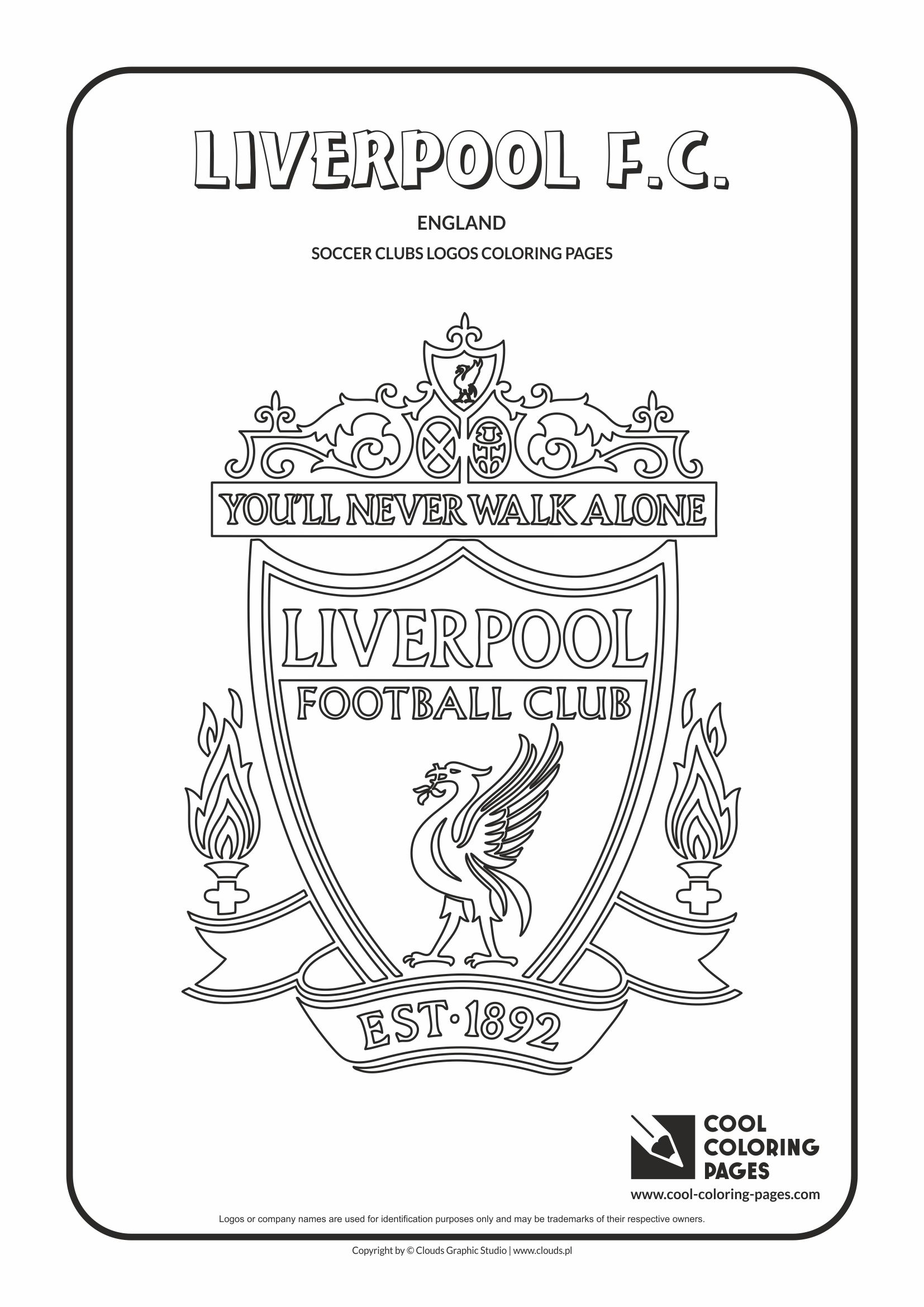 Uncategorized Coloring Pages Football Teams soccer clubs logos cool coloring pages liverpool f c logo page with colouring page