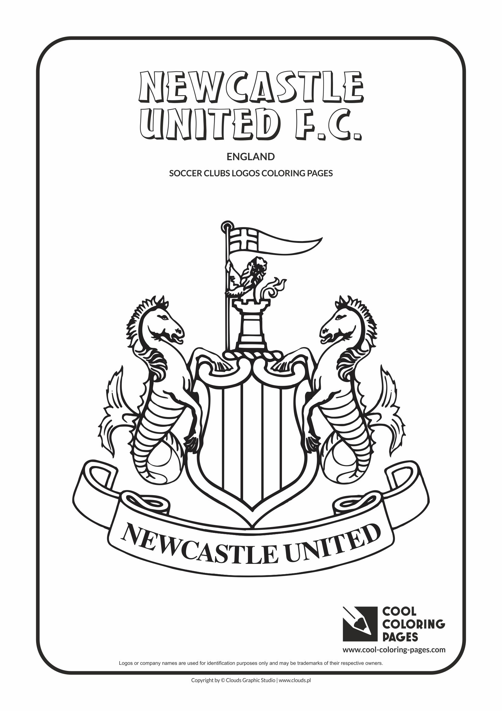 Newcastle United F.C. logo coloring / Coloring page with Newcastle United F.C. logo / Newcastle United F.C. logo colouring page.