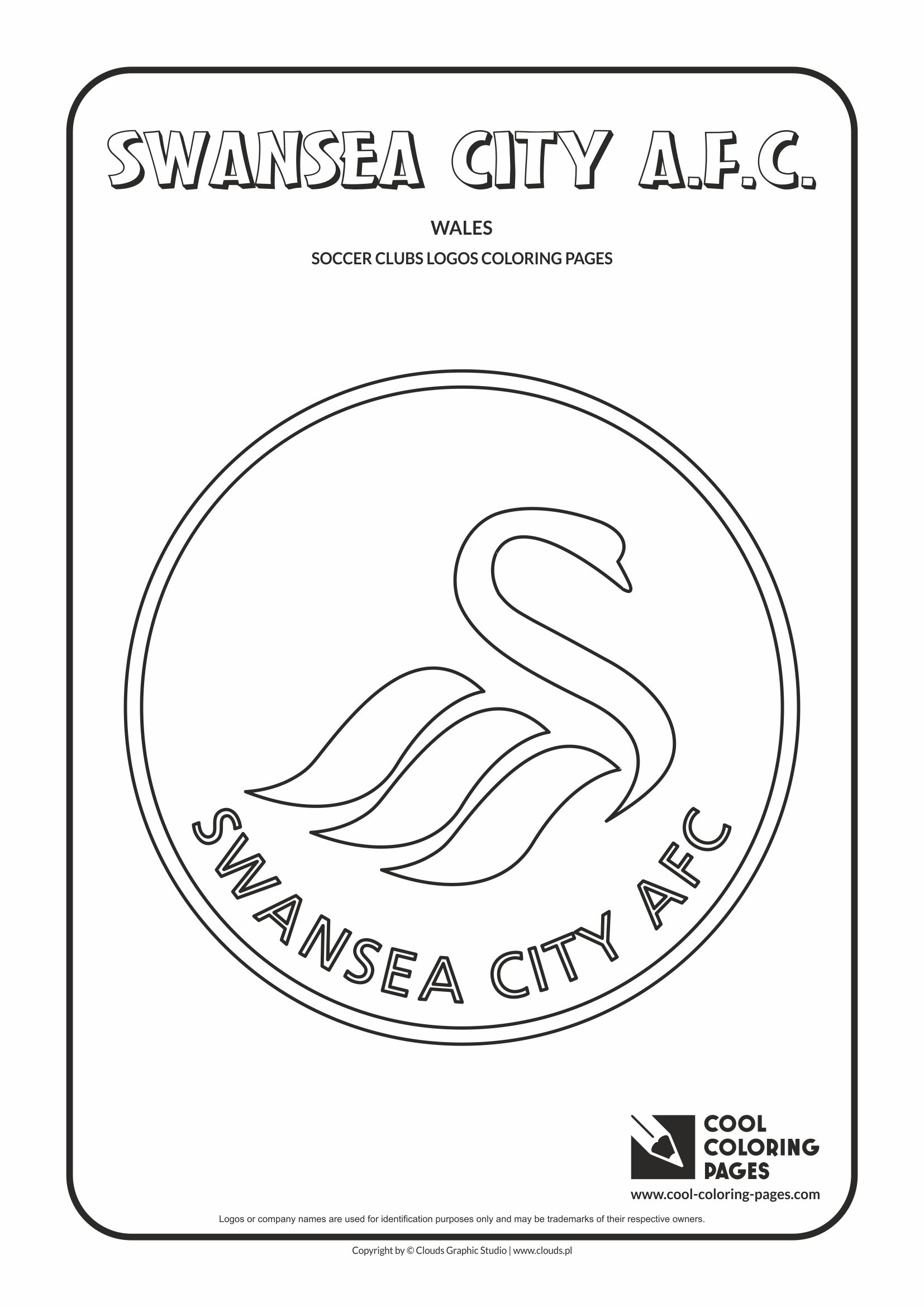 Swansea City A.F.C. logo coloring / Coloring page with Swansea City A.F.C. logo / Swansea City A.F.C. logo colouring page.
