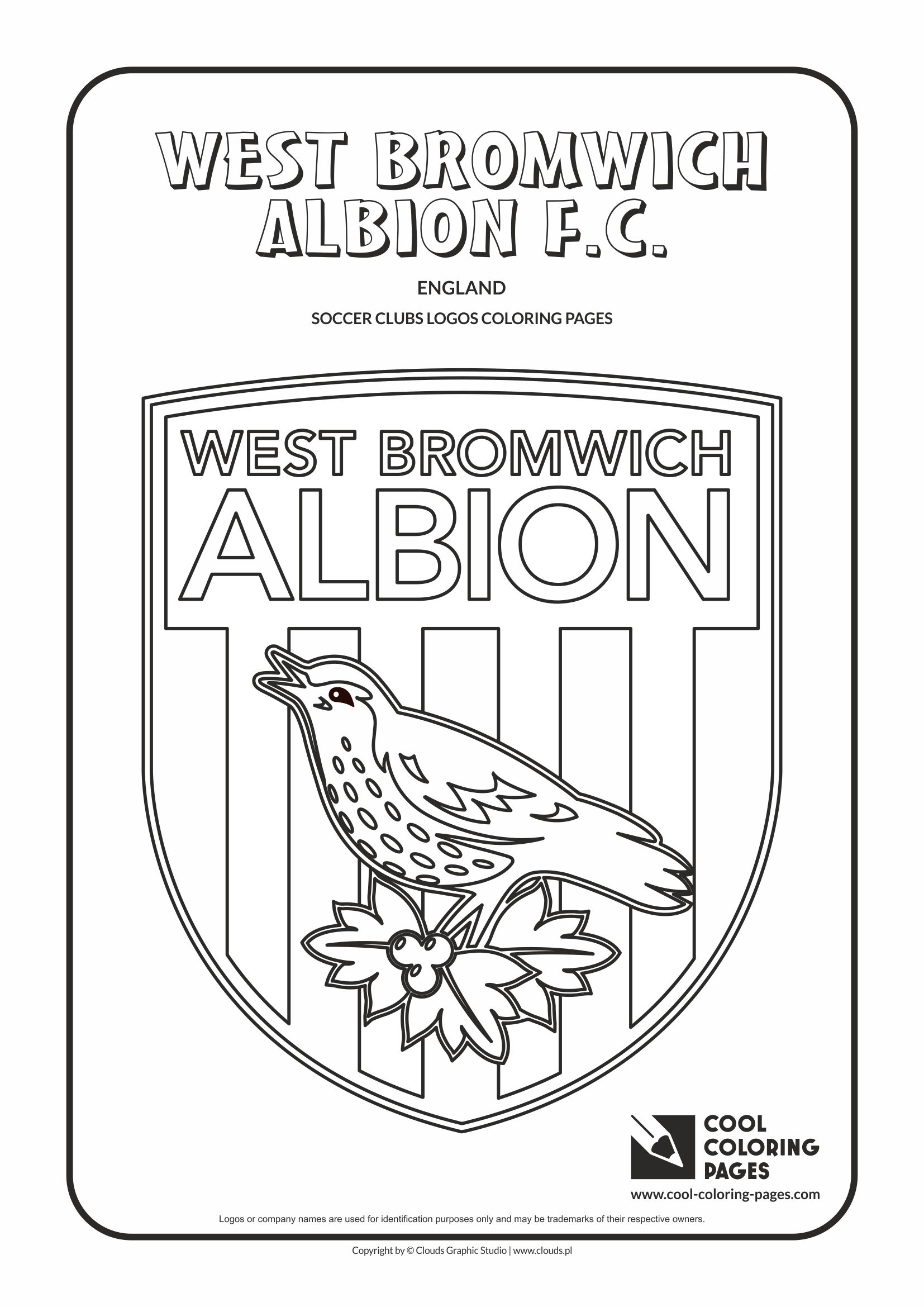 West Bromwich Albion F.C. logo coloring / Coloring page with West Bromwich Albion F.C. logo / West Brom logo colouring page.