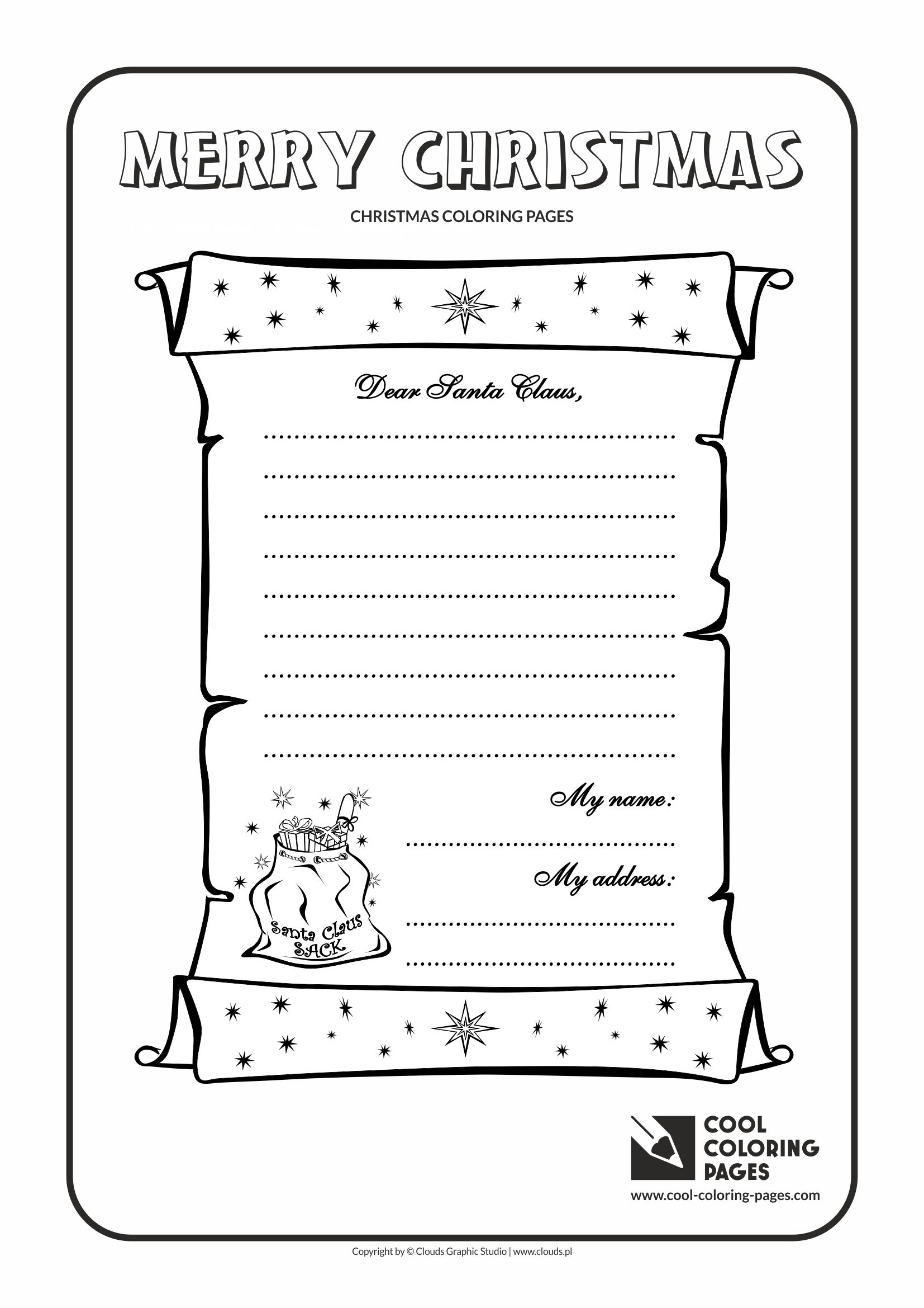 It is a graphic of Fabulous letter to santa coloring page