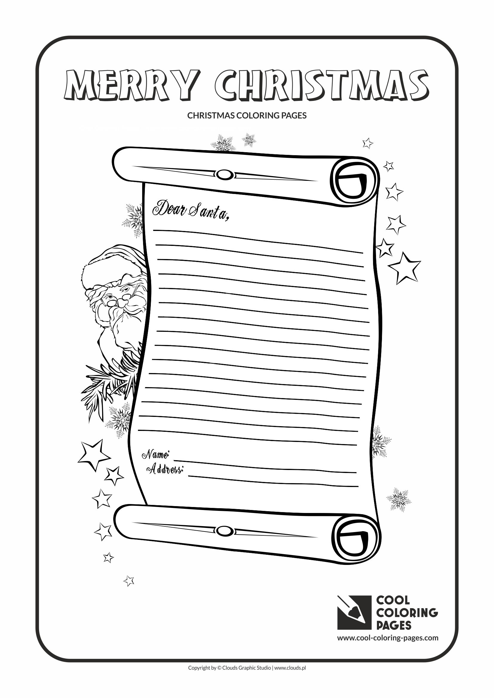 It is a graphic of Peaceful letter to santa coloring page