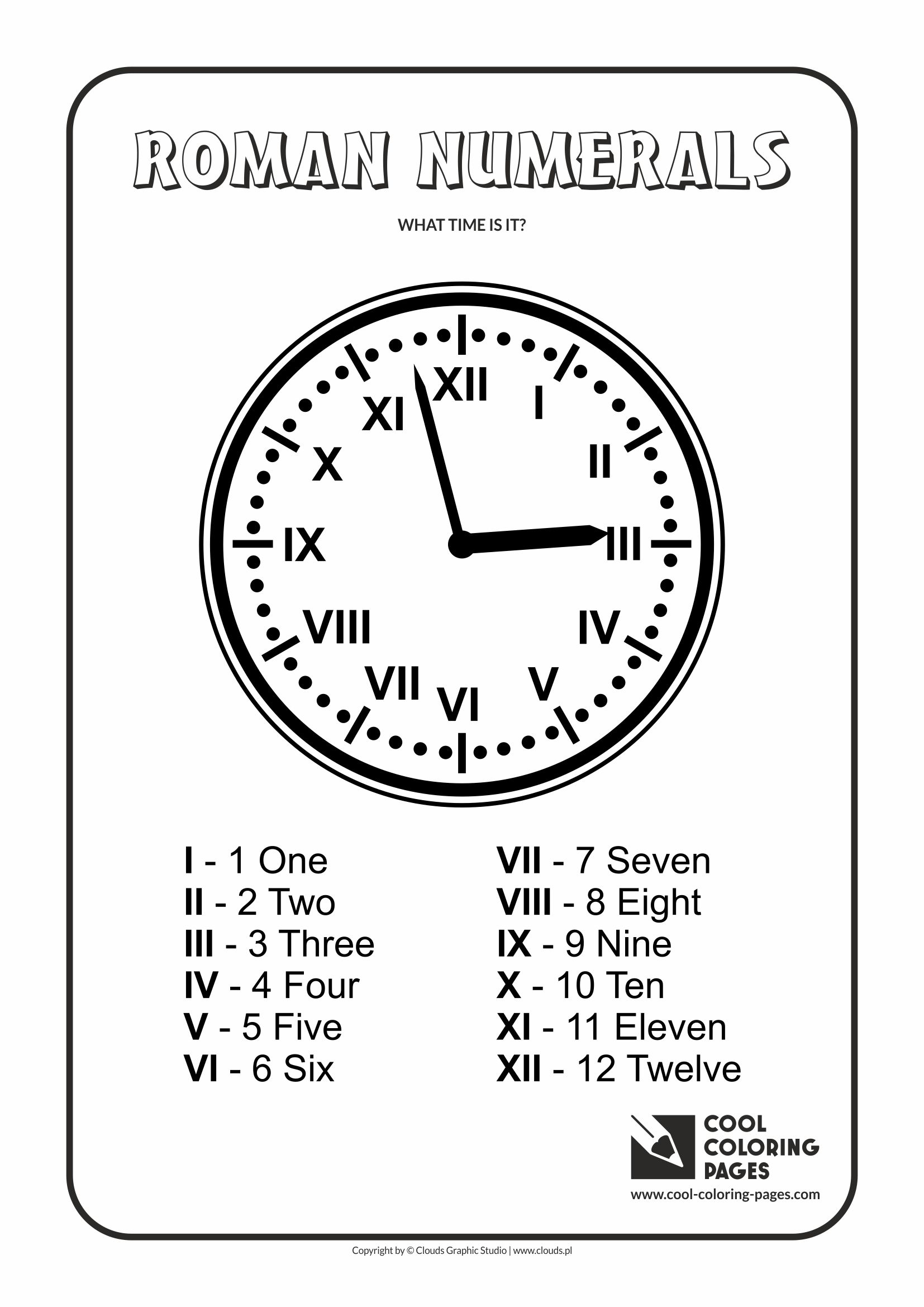 Roman Numeral Coloring Pages Coloring Pages