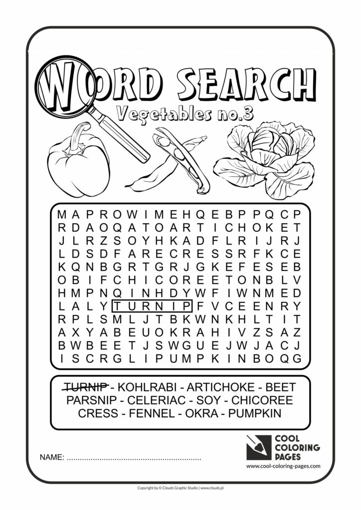 Cool Coloring Pages Word search vegetables no 3 Cool